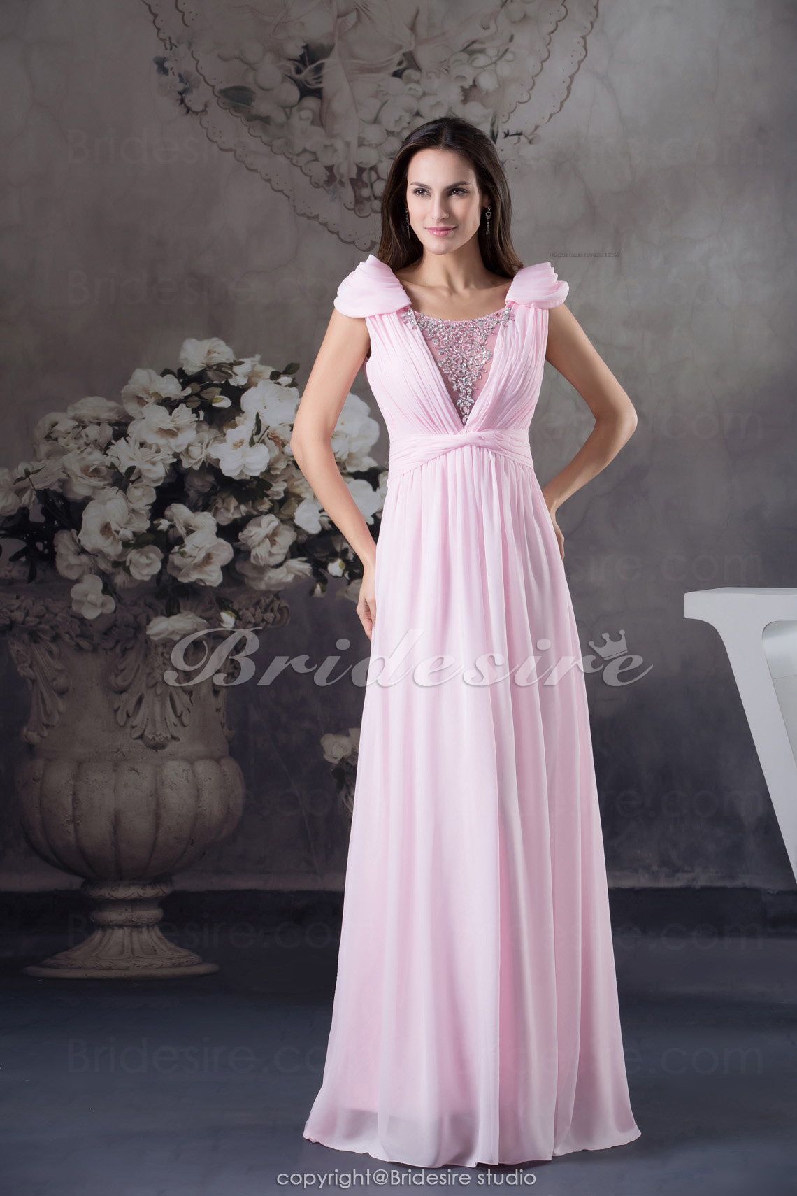 Sheath/Column Square Floor-length Short Sleeve Chiffon Dress