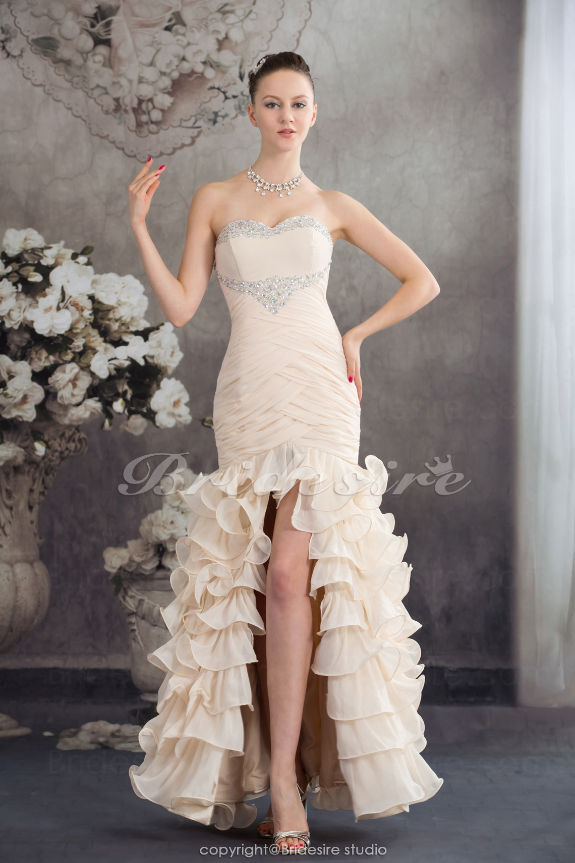 Trumpet/Mermaid Sweetheart Floor-length Sleeveless Chiffon Dress