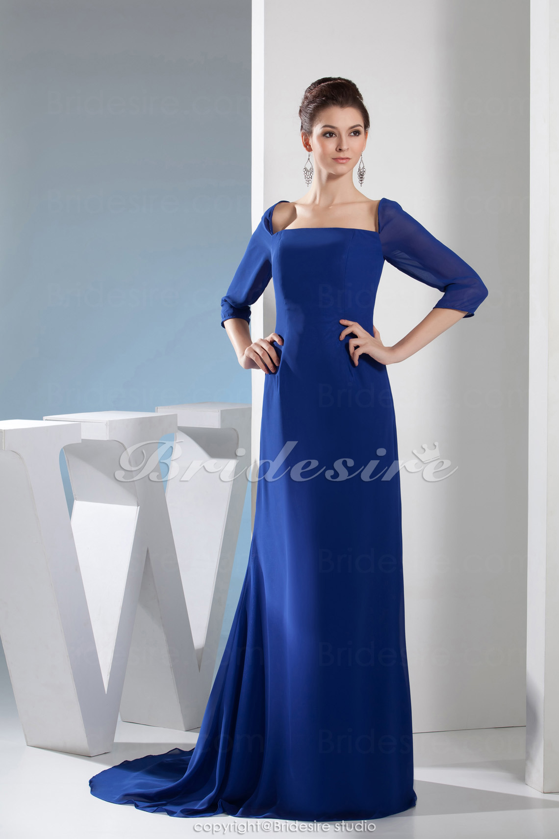A-line Square Floor-length Sweep/Brush Train 3/4 Length Sleeve Satin Dress