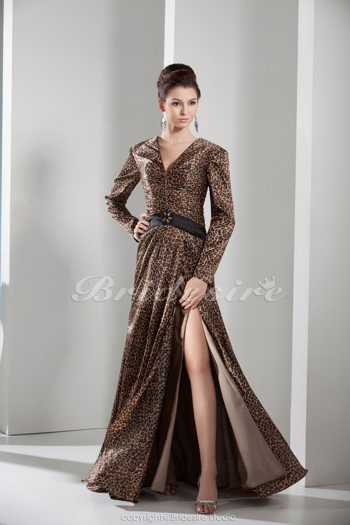 A-line V-neck Floor-length Long Sleeve Satin Dress