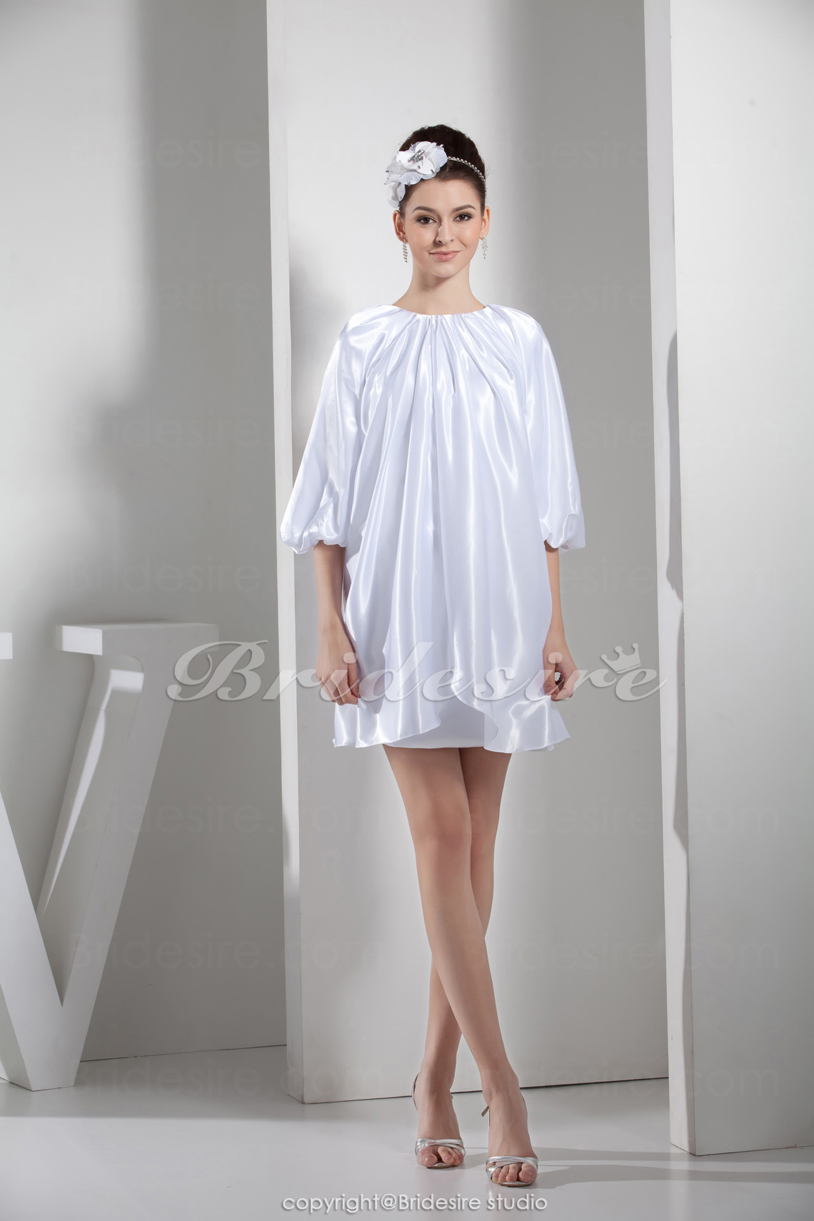 Sheath/Column Jewel Short/Mini Half Sleeve Taffeta Dress