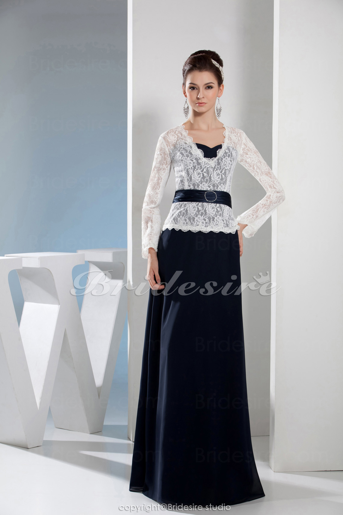 A-line V-neck Floor-length Long Sleeve Satin Lace Dress