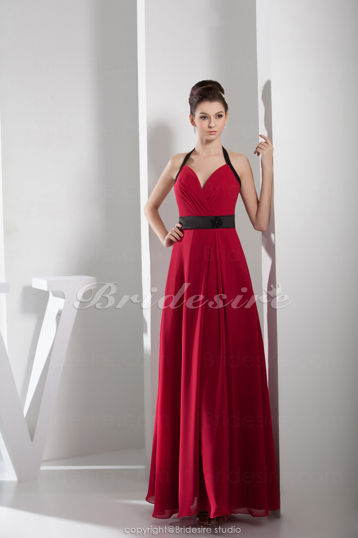 A-line Halter Floor-length Sleeveless Satin Chiffon Dress