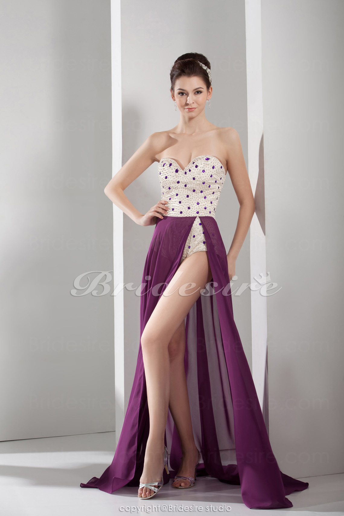 A-line Sweetheart Floor-length Asymmetrical Sleeveless Chiffon Dress