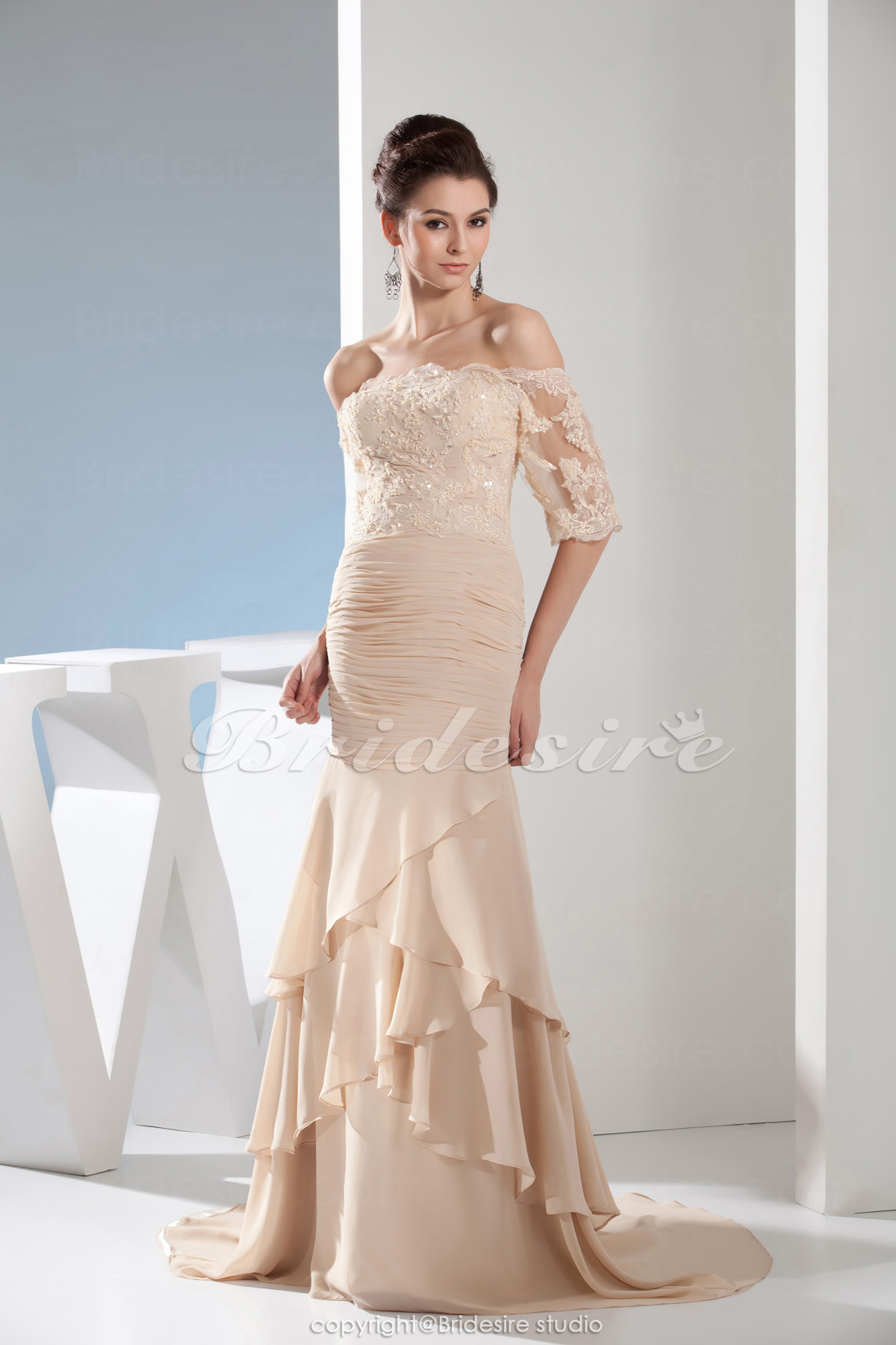 Trumpet/Mermaid Strapless Floor-length Sweep/Brush Train Half Sleeve Chiffon Mother of the Bride Dress