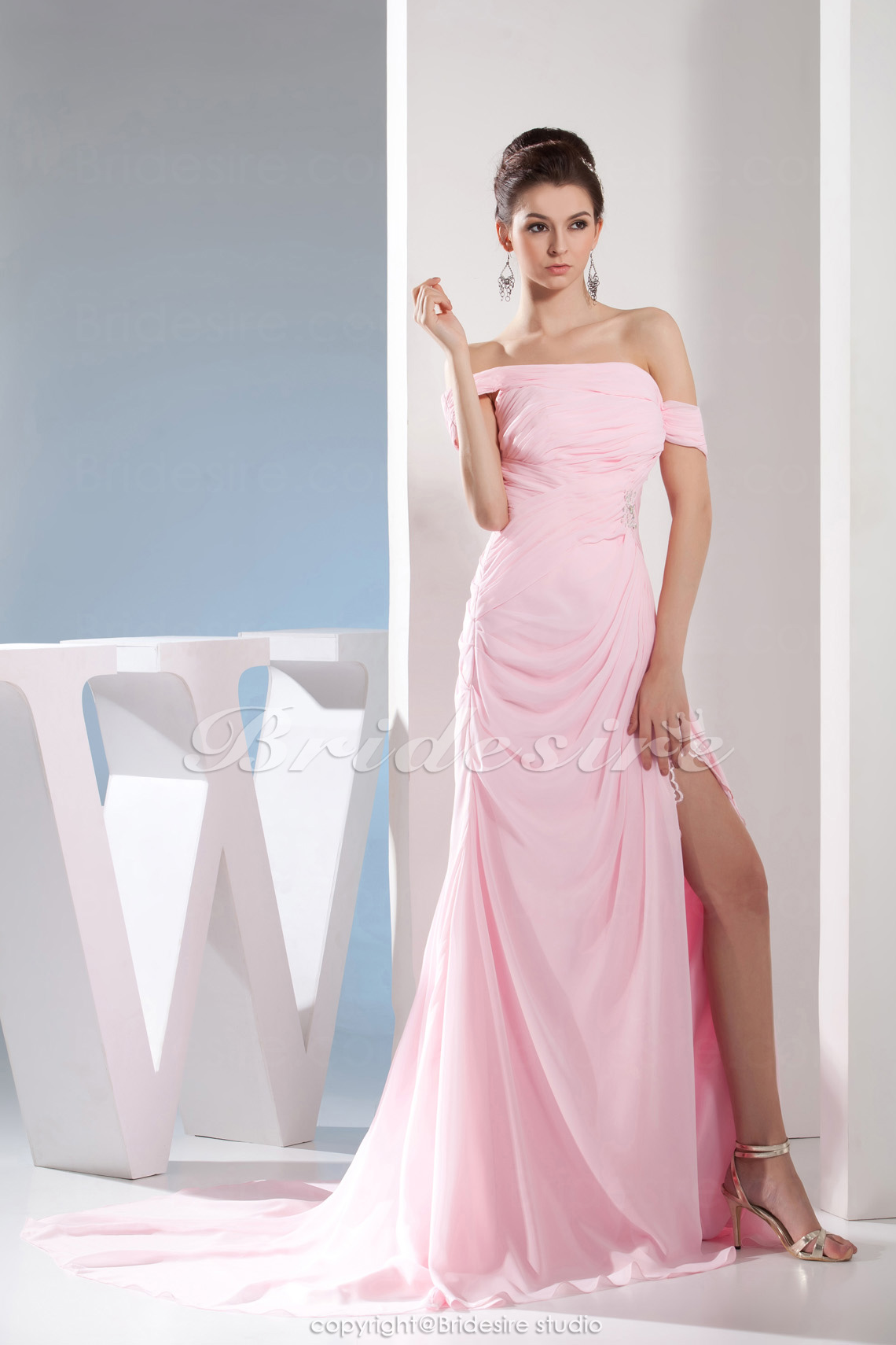 A-line Off-the-shoulder Floor-length Sweep/Brush Train Sleeveless Chiffon Dress