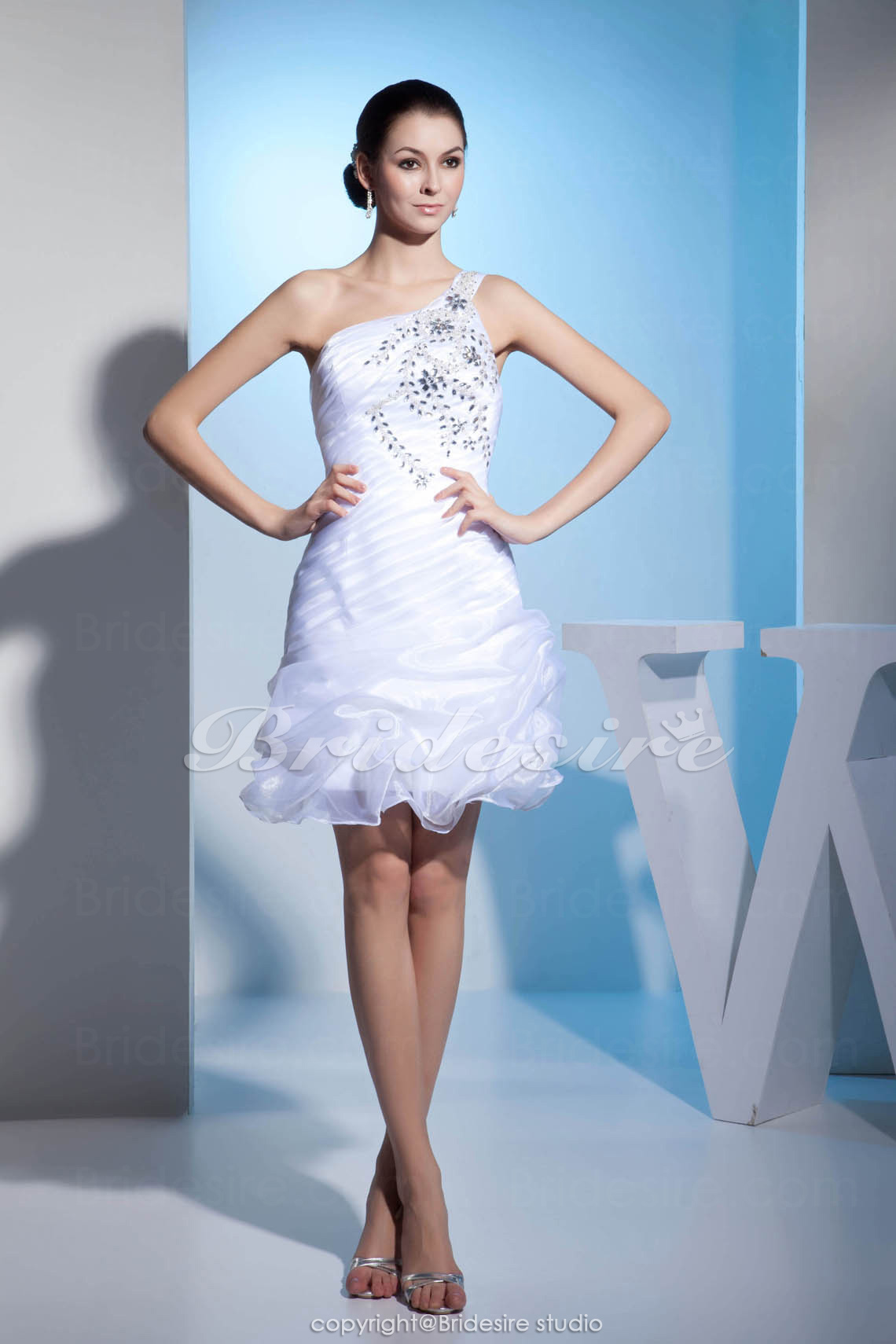 Sheath/Column One Shoulder Knee-length Sleeveless Organza Dress