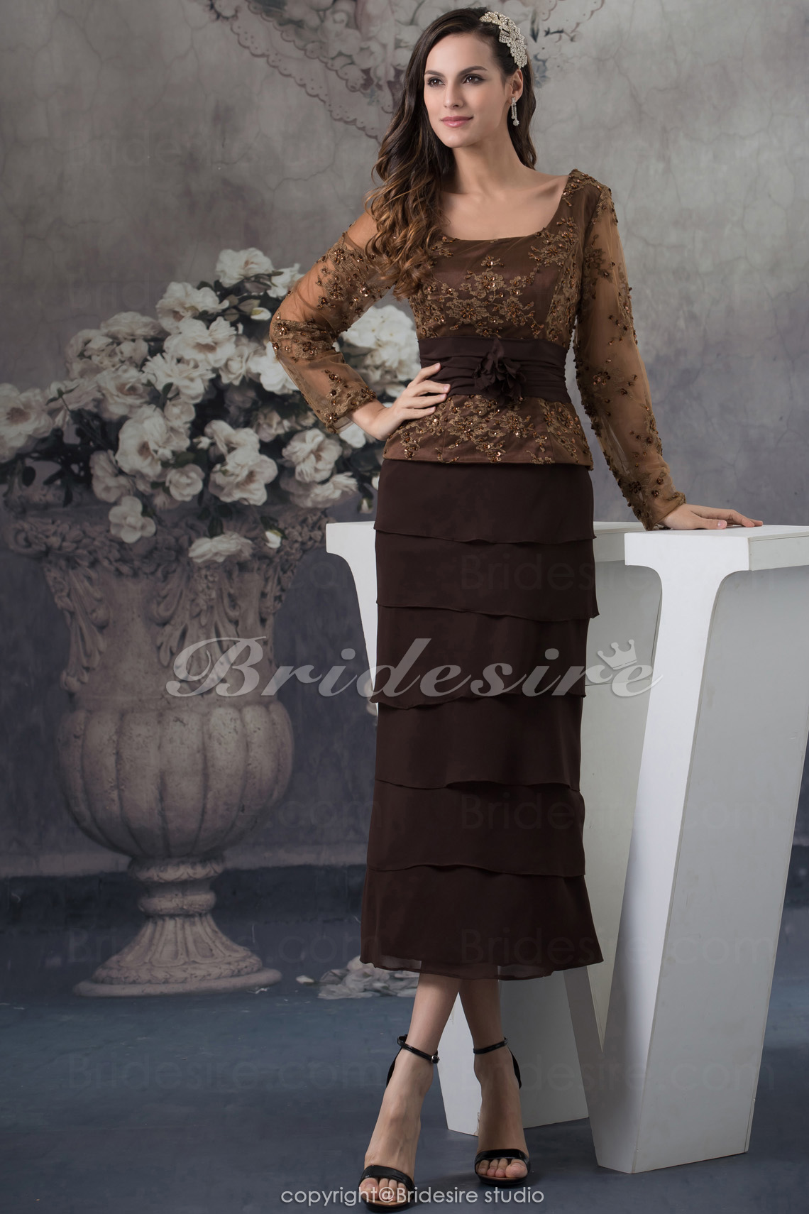 Sheath/Column Square Tea-length Long Sleeve Chiffon Lace Mother of the Bride Dress