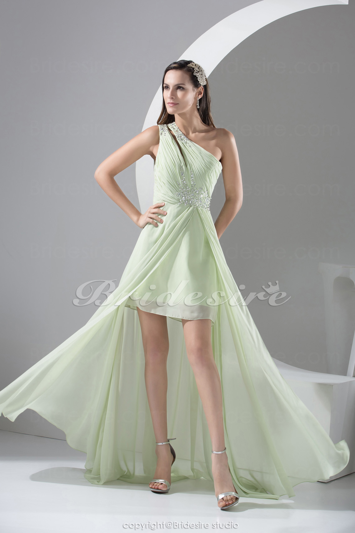Sheath/Column One Shoulder Asymmetrical Sleeveless Chiffon Dress