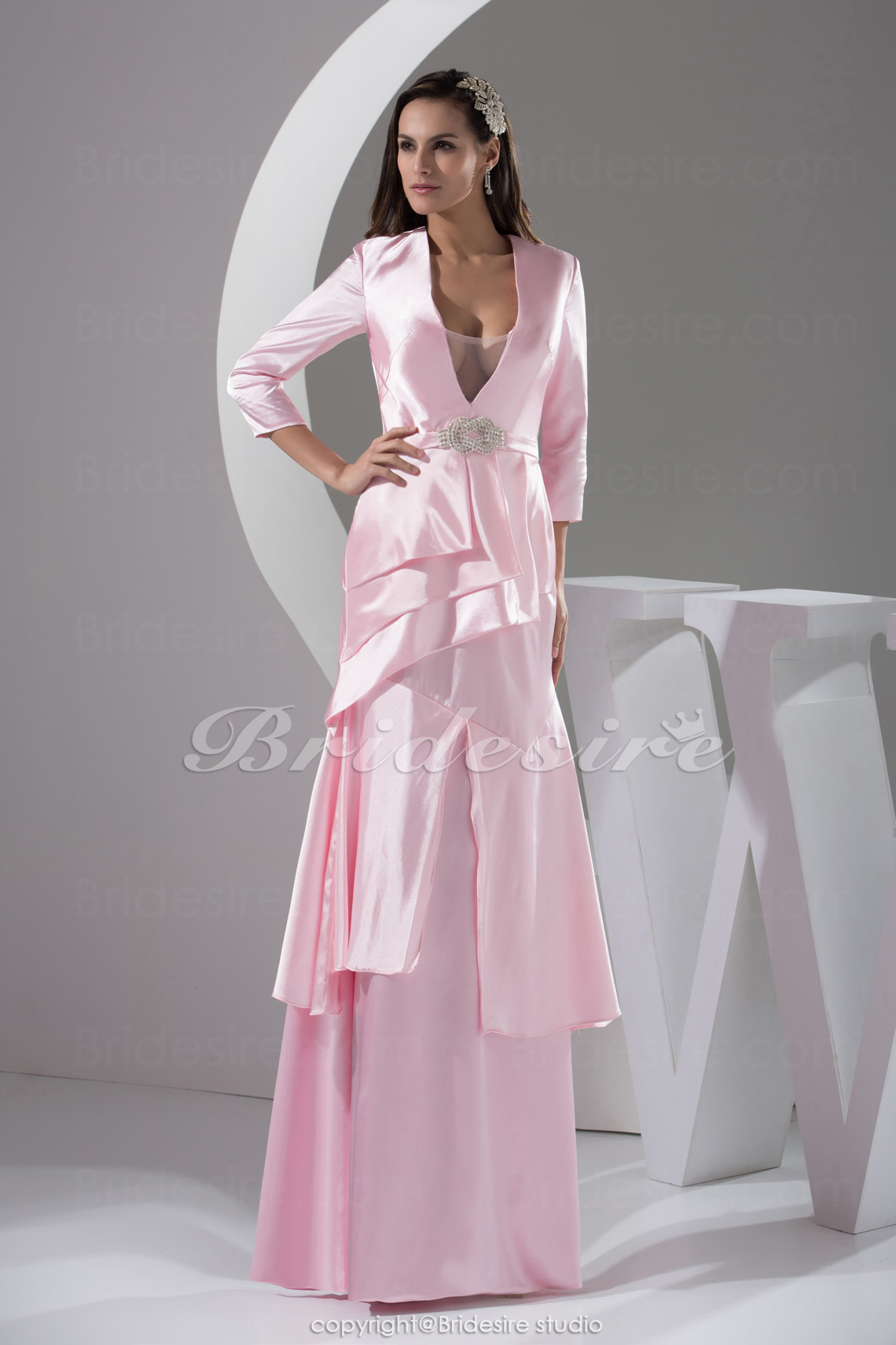 Sheath/Column V-neck Floor-length 3/4 Length Sleeve Satin Dress
