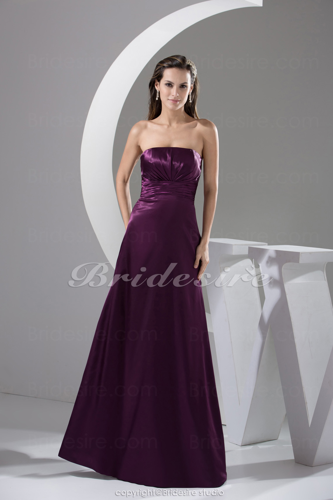 A-line Strapless Floor-length Sleeveless Satin Bridesmaid Dress