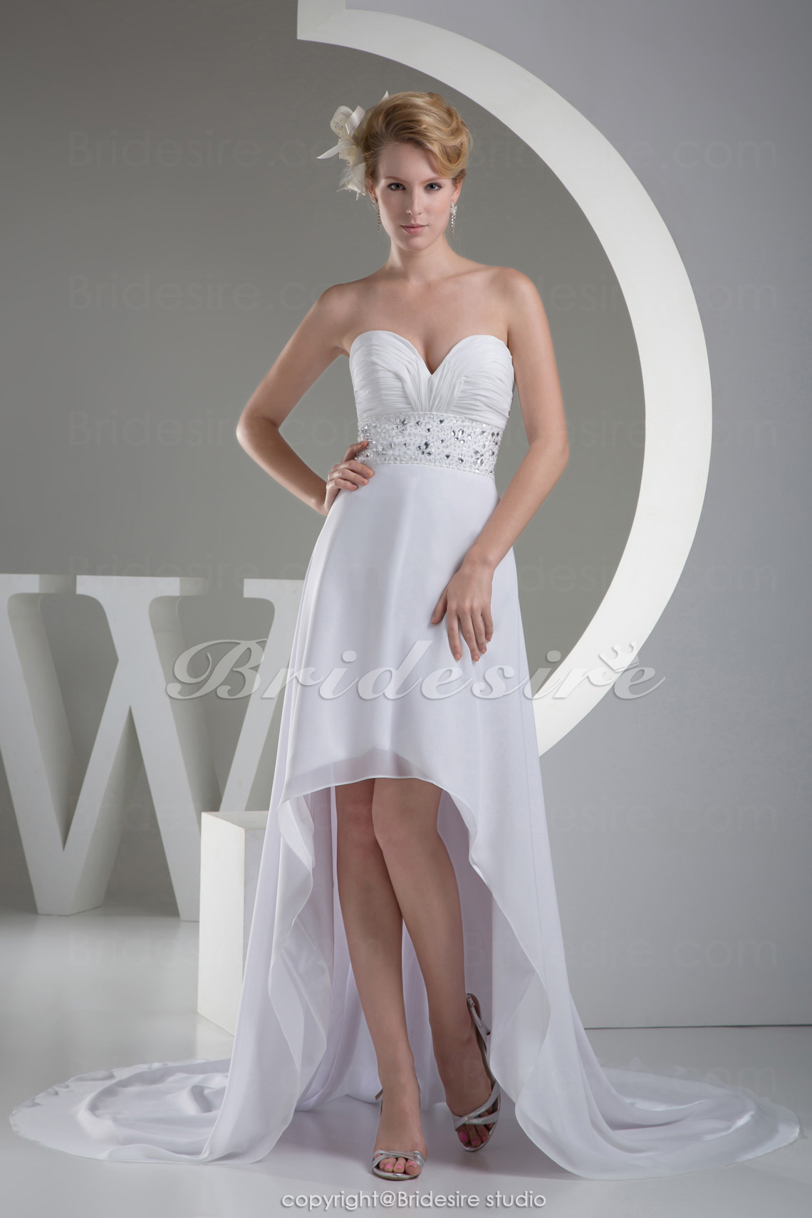 A-line Sweetheart Asymmetrical Court Train Sleeveless Chiffon Wedding Dress