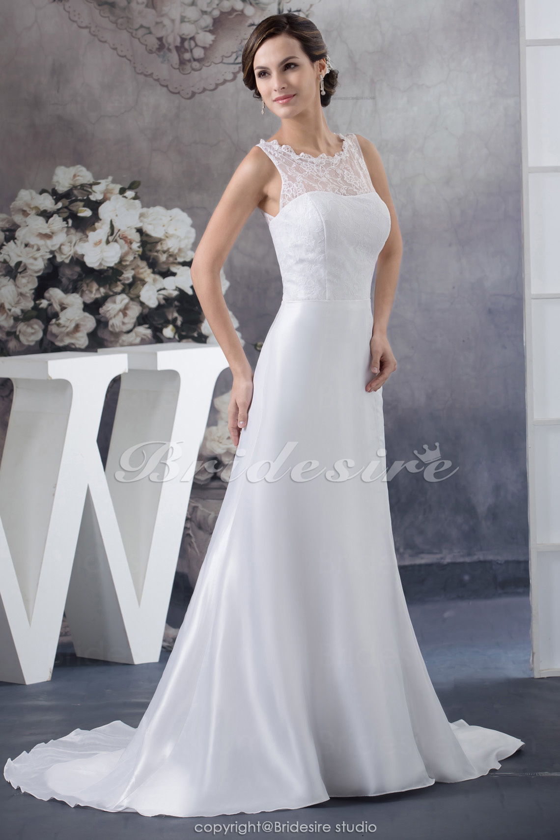 A-line Jewel Floor-length Sweep Train Sleeveless Satin Wedding Dress