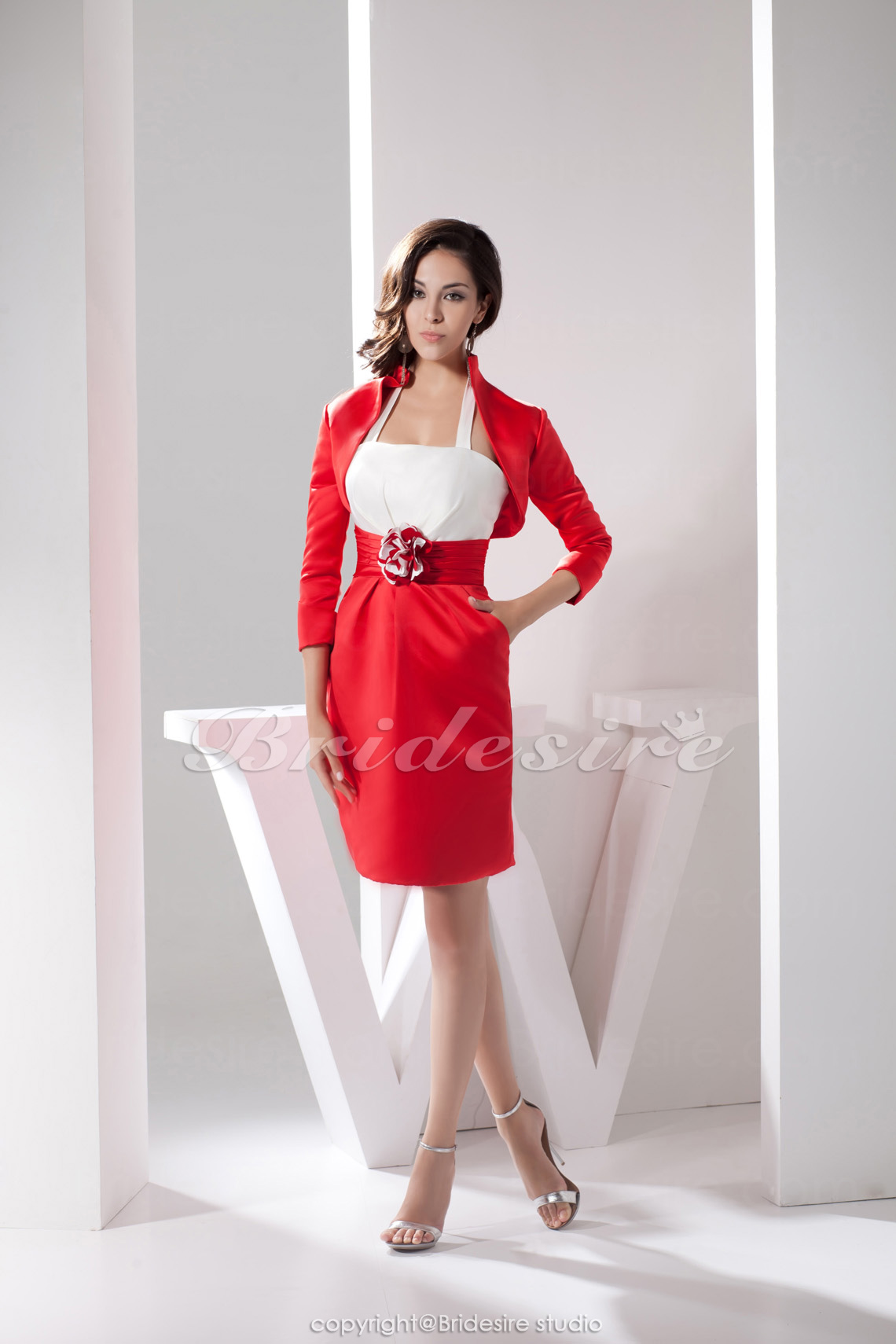 Sheath/Column Halter Short/Mini 3/4 Length Sleeve Satin Dress