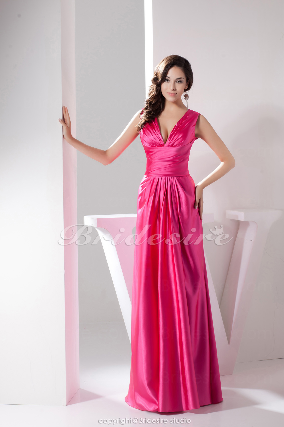 A-line V-neck Floor-length Sleeveless Satin Bridesmaid Dress