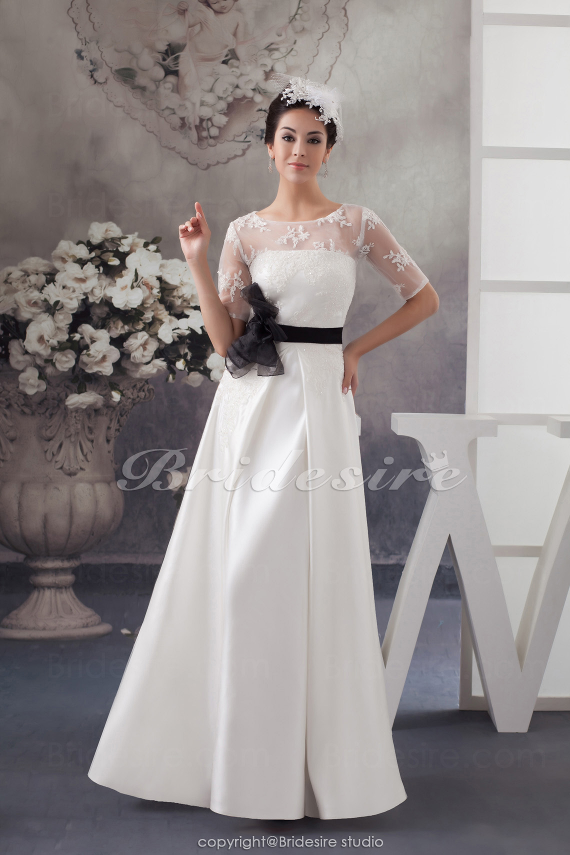 A-line Jewel Floor-length Half Sleeve Satin Wedding Dress