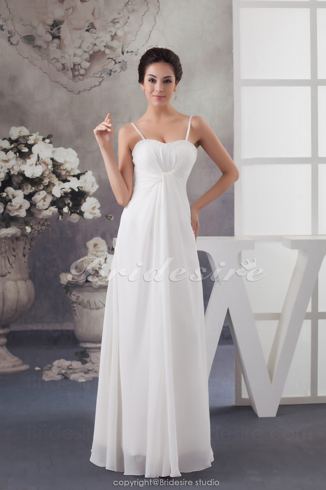 20f8c145 Bridesire - Sheath/Column Spaghetti Straps Floor-length Sleeveless Chiffon  Wedding Dress [BD4787] - US$91.99 : Bridesire
