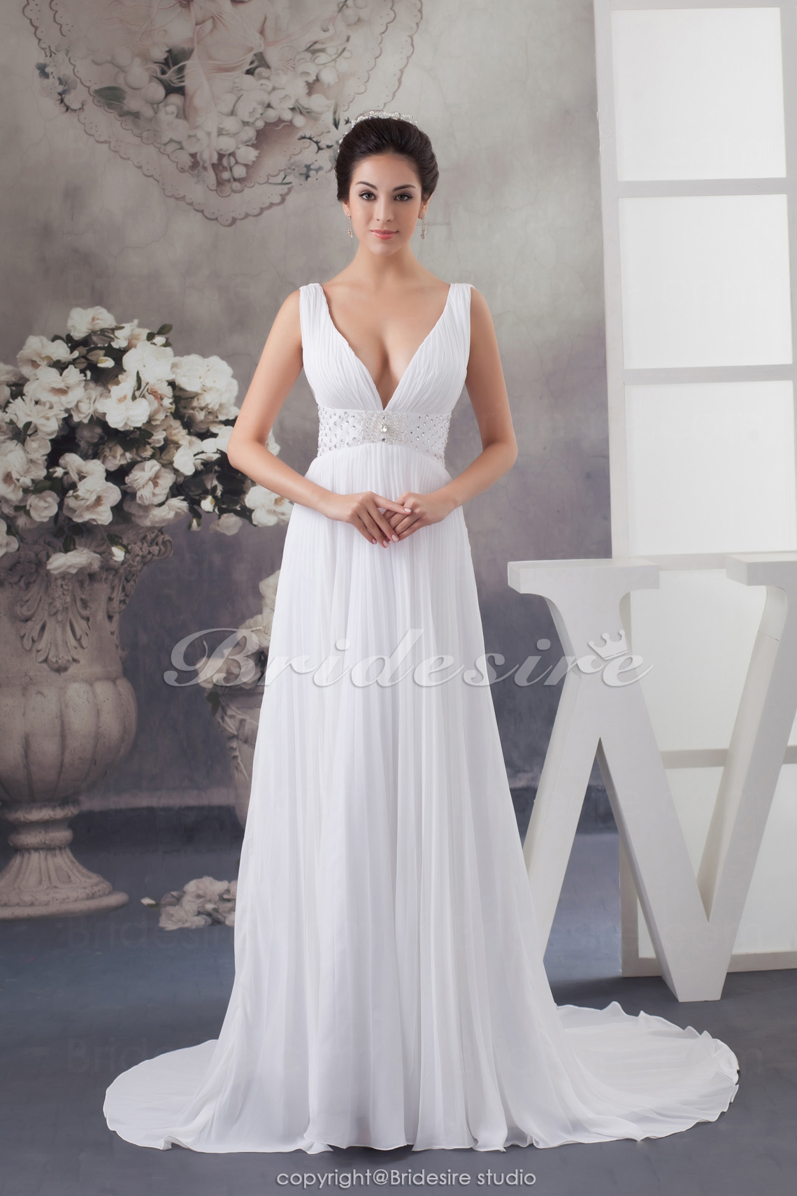 A-line V-neck Floor-length Sweep Train Sleeveless Chiffon Wedding Dress