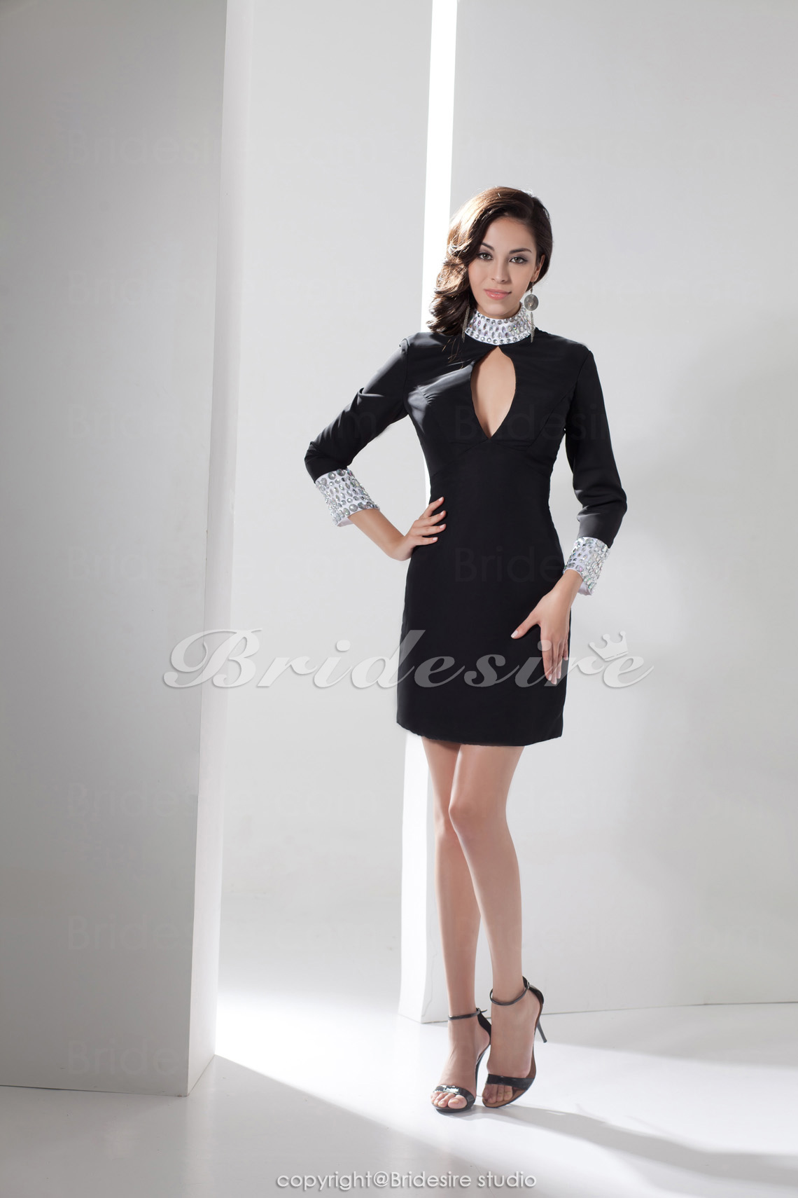 Sheath/Column High Neck Short/Mini 3/4 Length Sleeve Satin Dress
