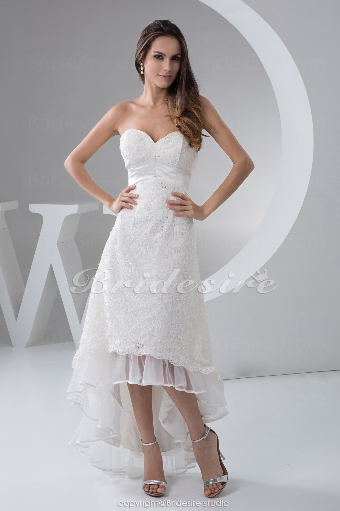 A-line Sweetheart Asymmetrical Sleeveless Satin Lace Organza Wedding Dress