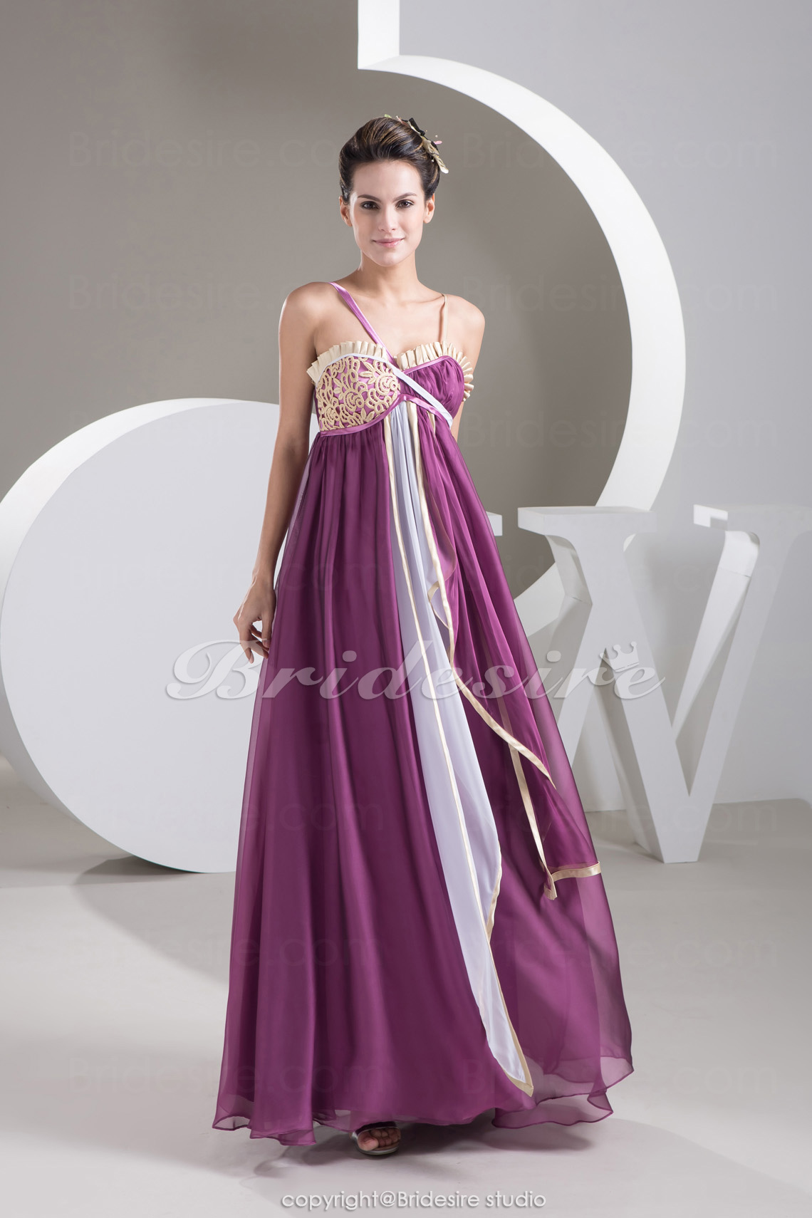Sheath/Column Spaghetti Straps Floor-length Sleeveless Chiffon Stretch Satin Dress