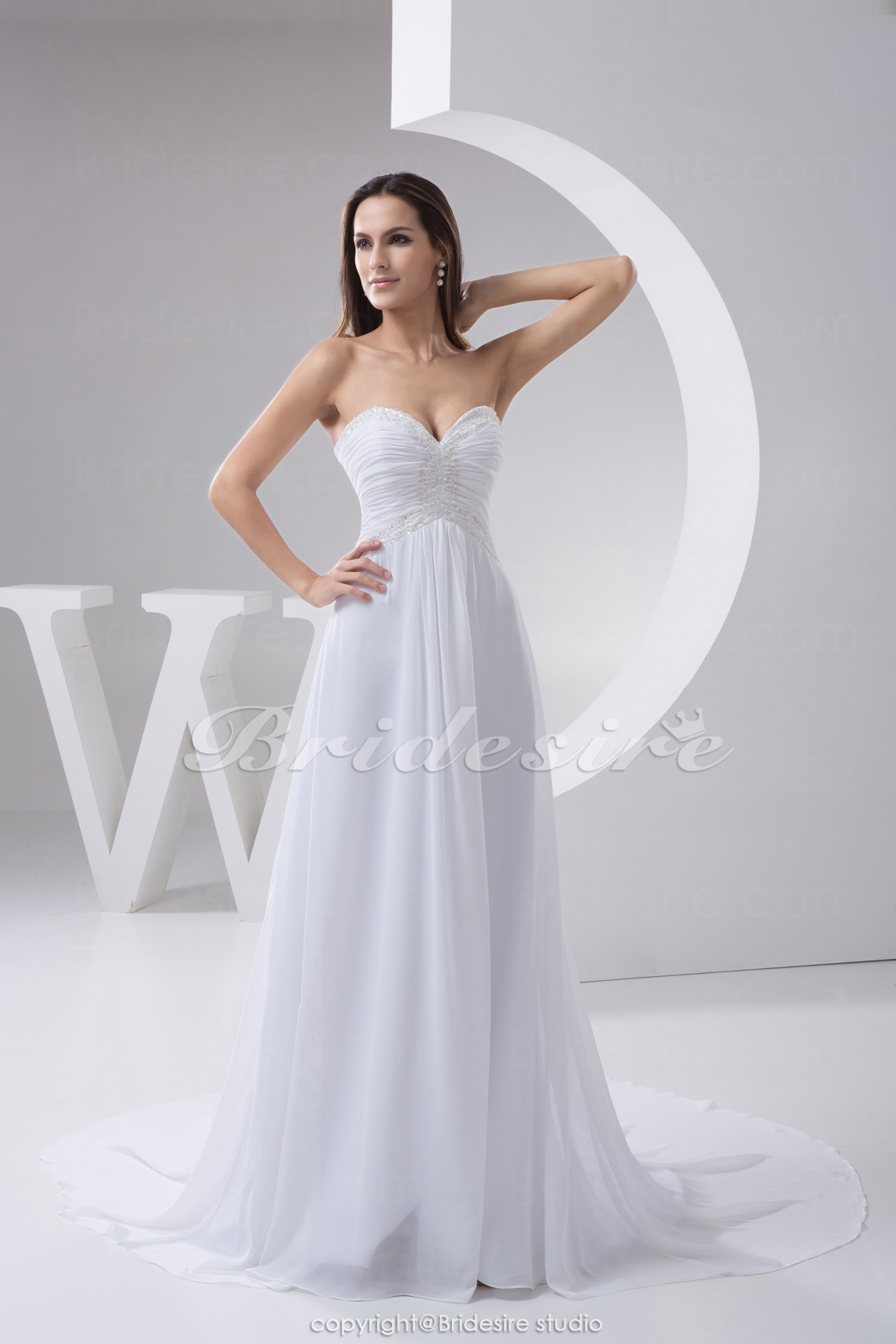 A-line Sweetheart Chapel Train Sleeveless Chiffon Wedding Dress
