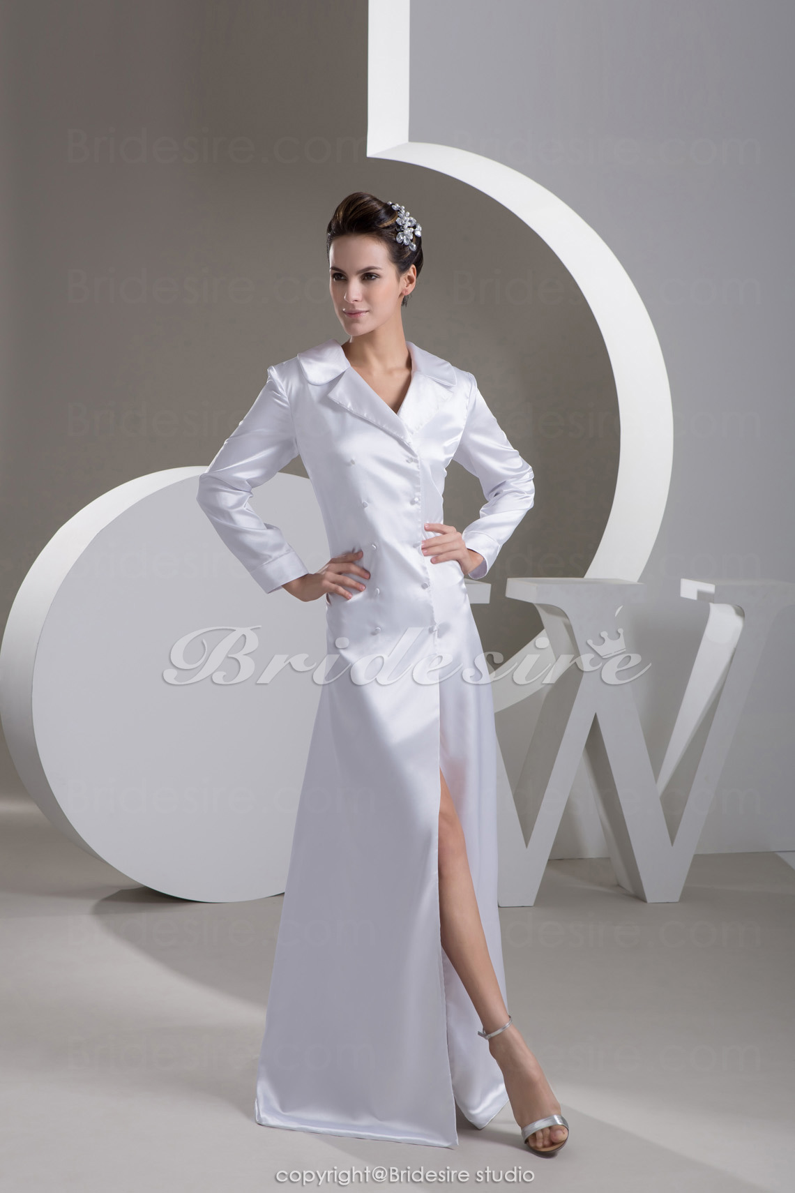 A-line V-neck Floor-length Long Sleeve Stretch Satin Mother of the Bride Dress