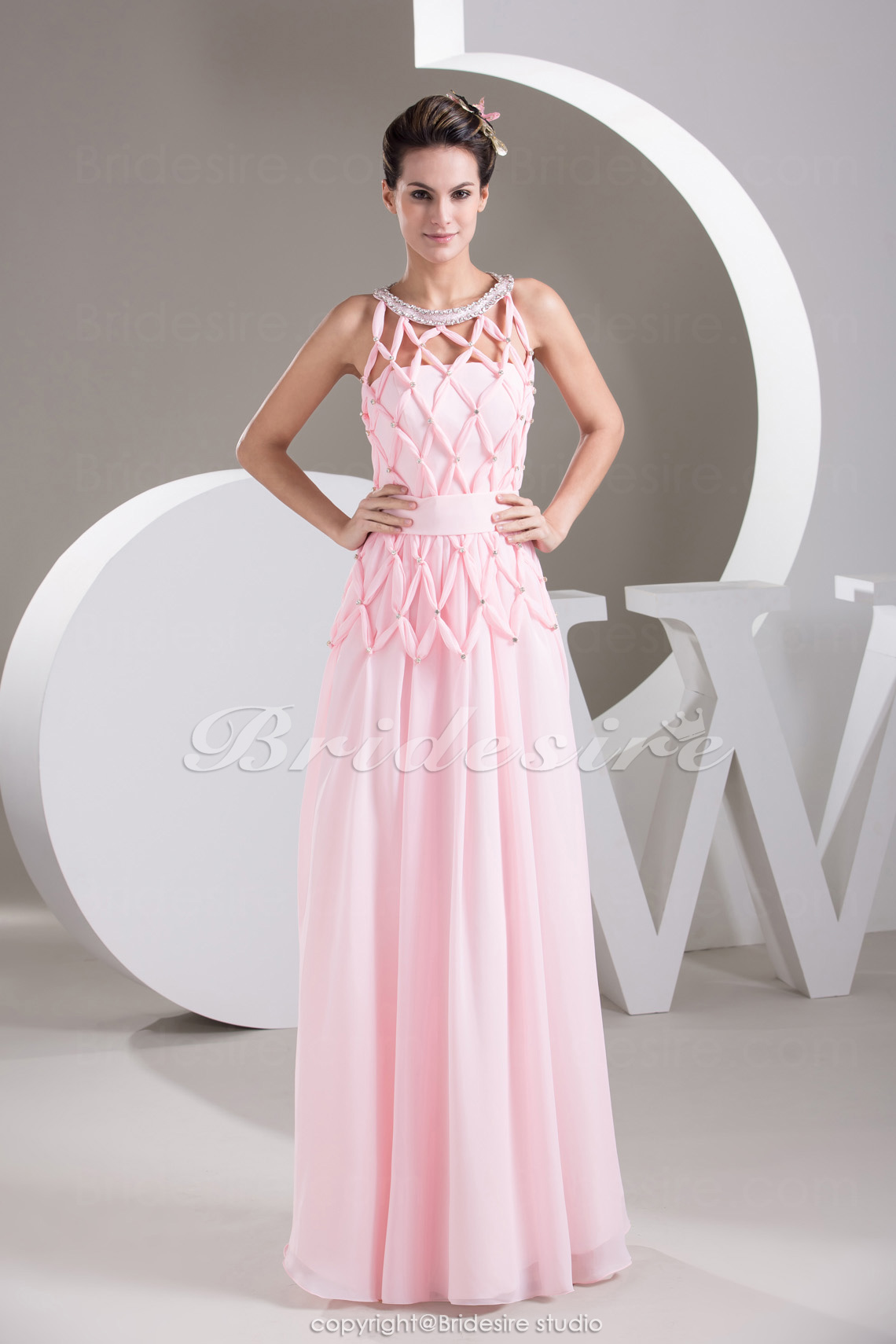 Sheath/Column Scoop Floor-length Sleeveless Chiffon Dress