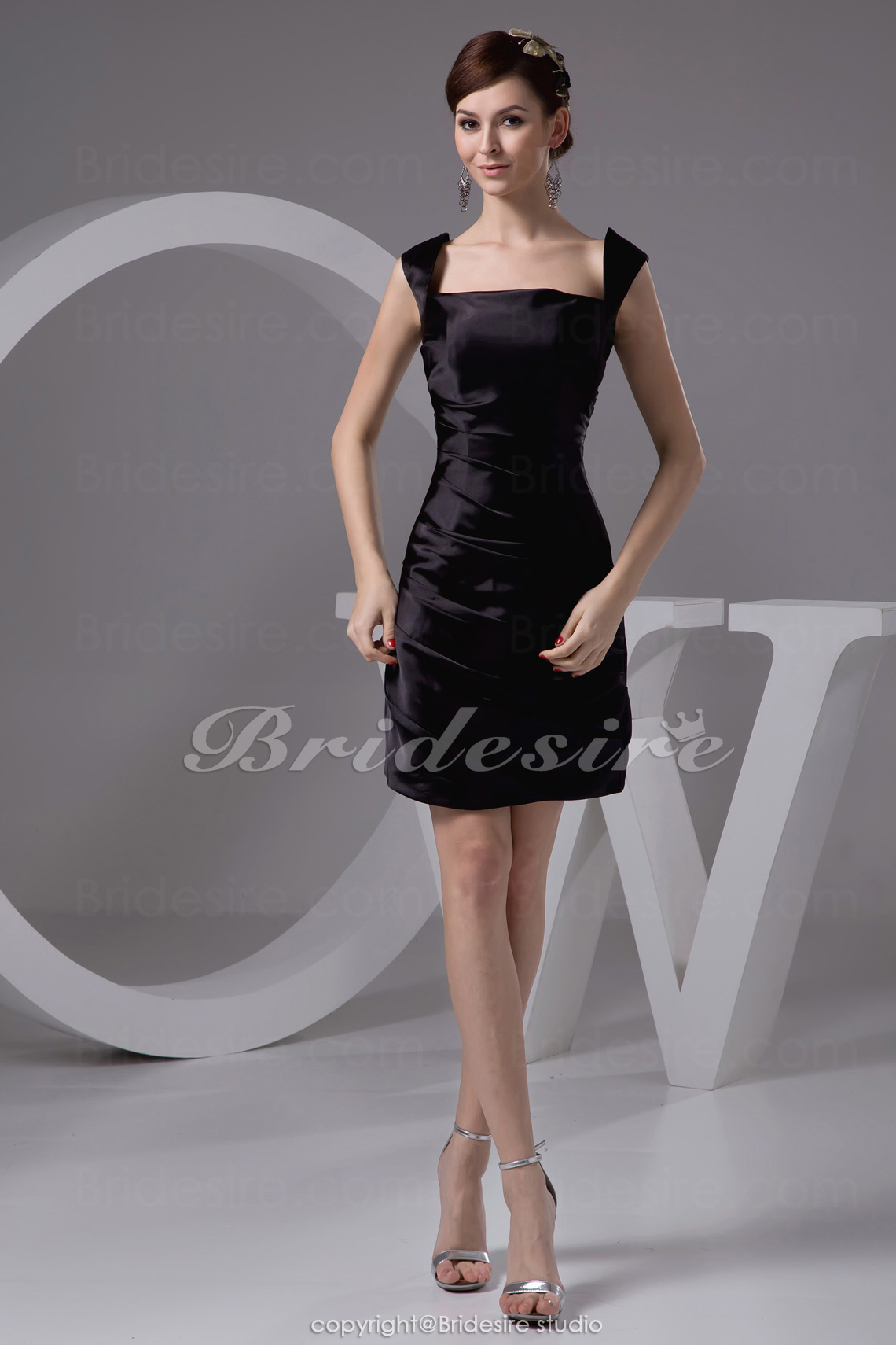 Sheath/Column Straps Short/Mini Sleeveless Stretch Satin Bridesmaid Dress