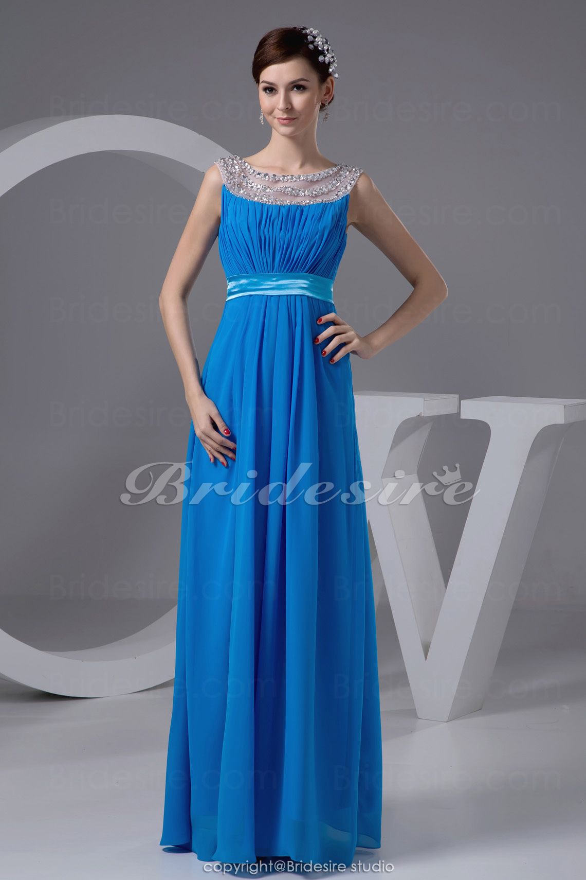 A-line Jewel Straps Floor-length Sleeveless Chiffon Dress
