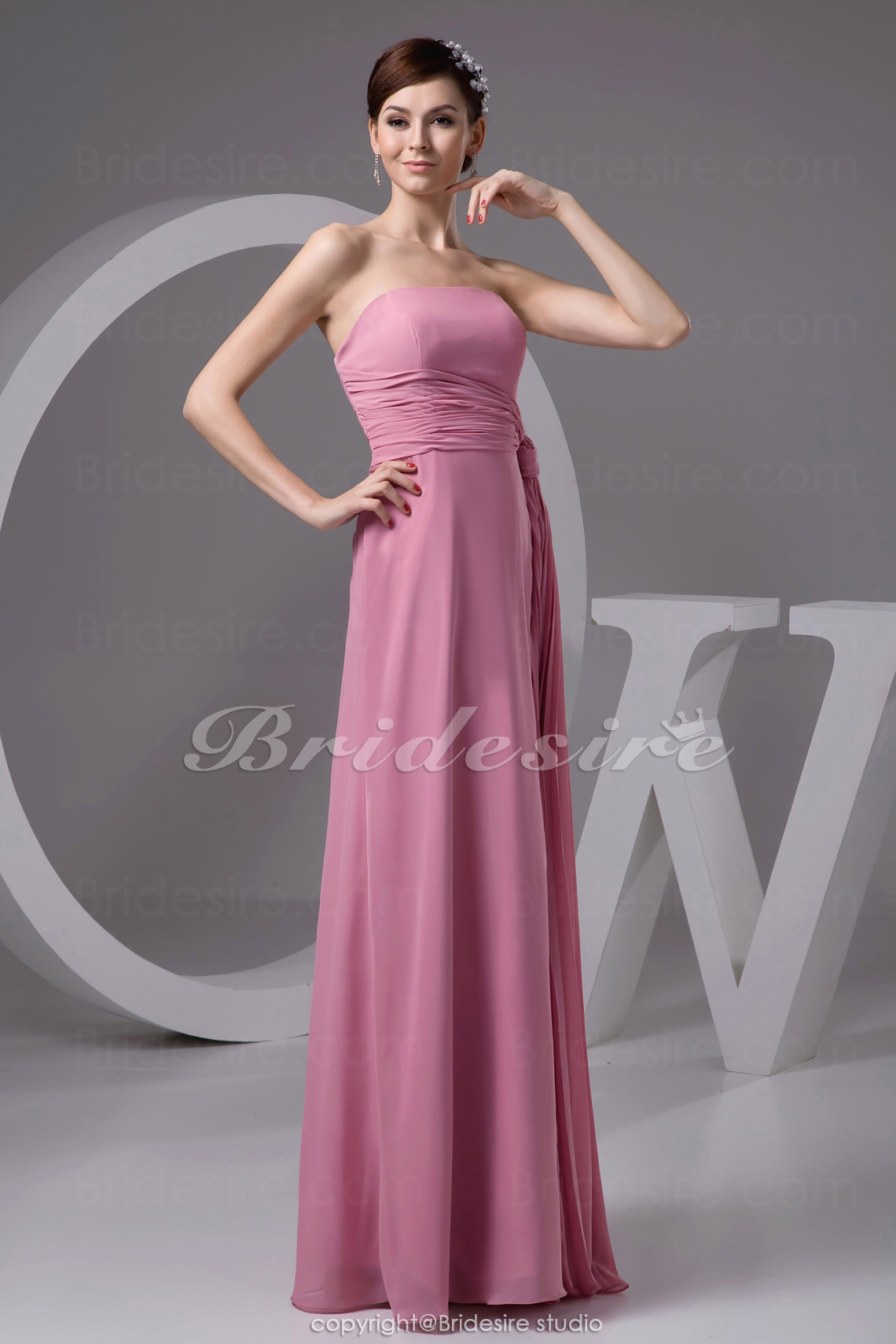 A-line Strapless Floor-length Sleeveless Chiffon Bridesmaid Dress