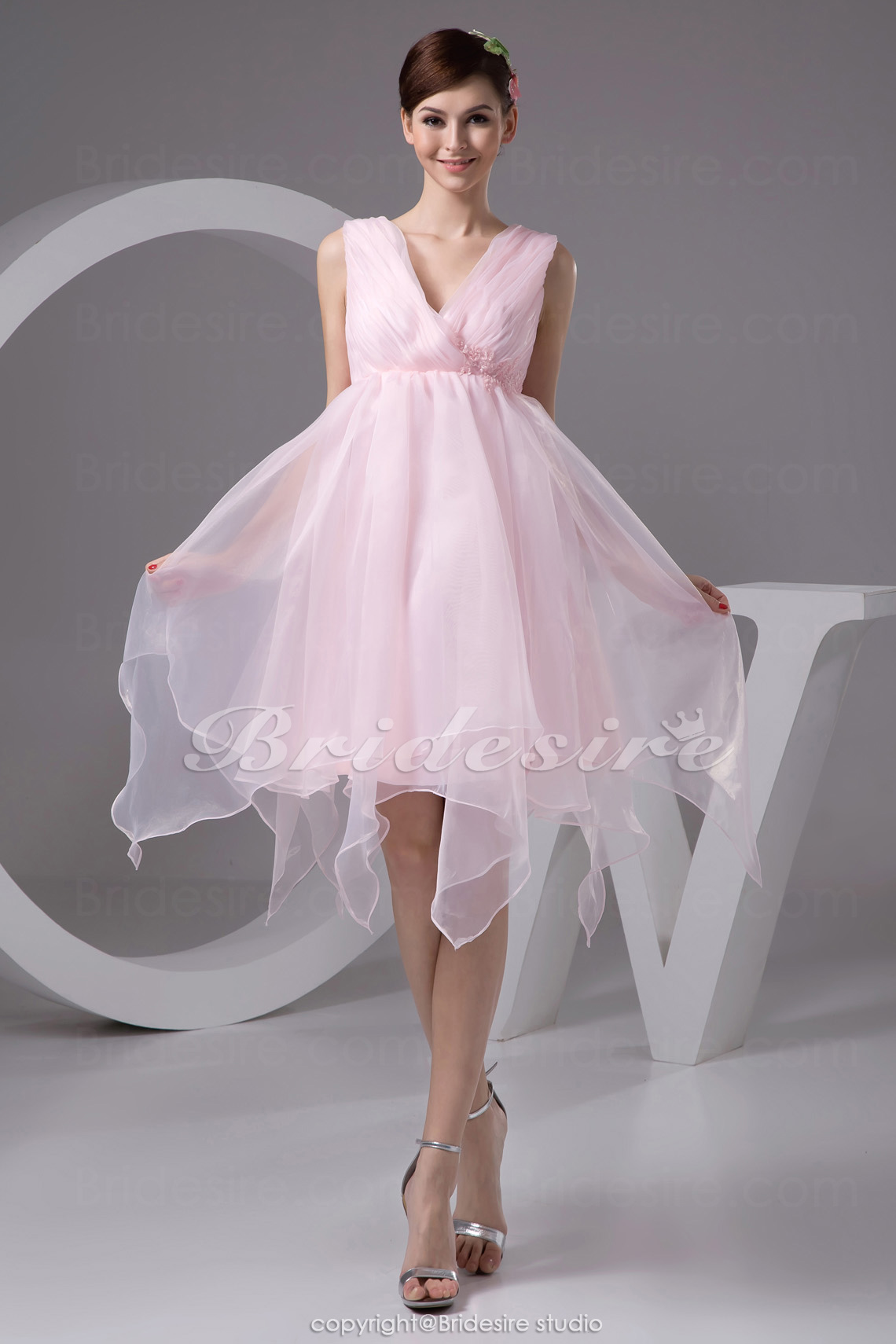A-line V-neck Tea-length Sleeveless Organza Dress