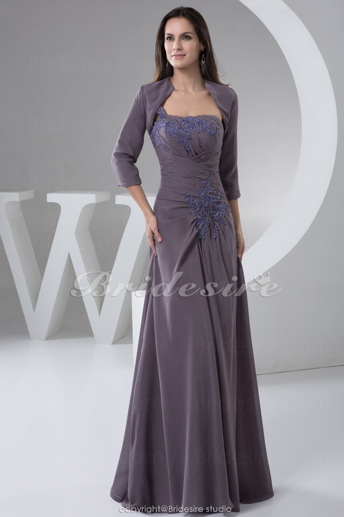 A-line One Shoulder Floor-length Sleeveless Chiffon Mother of the Bride Dress