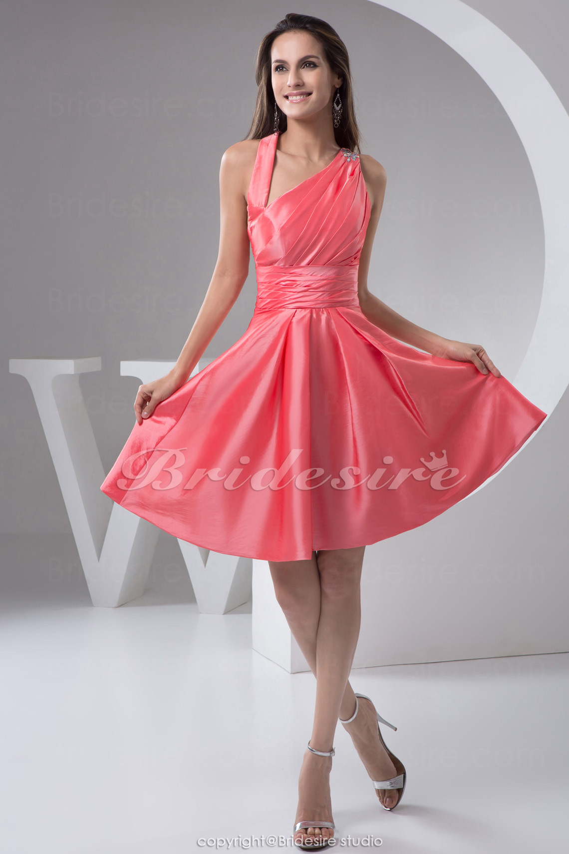 A-line Straps Short/Mini Sleeveless Taffeta Bridesmaid Dress