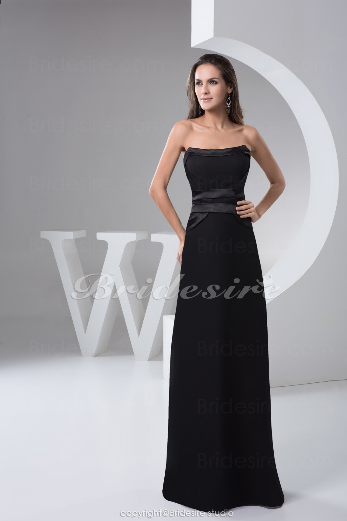 A-line Strapless Floor-length Sleeveless Chiffon Satin Bridesmaid Dress