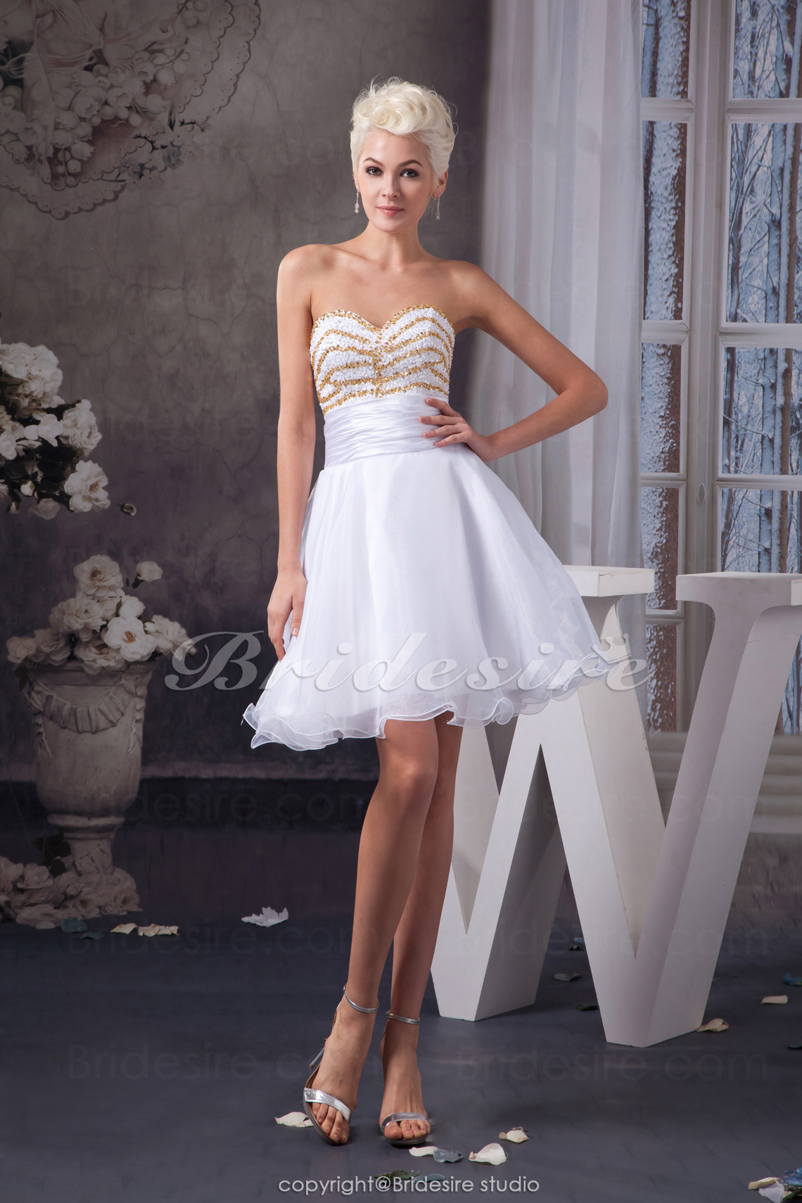 A-line Sweetheart Short/Mini Sleeveless Organza Stretch Satin Dress