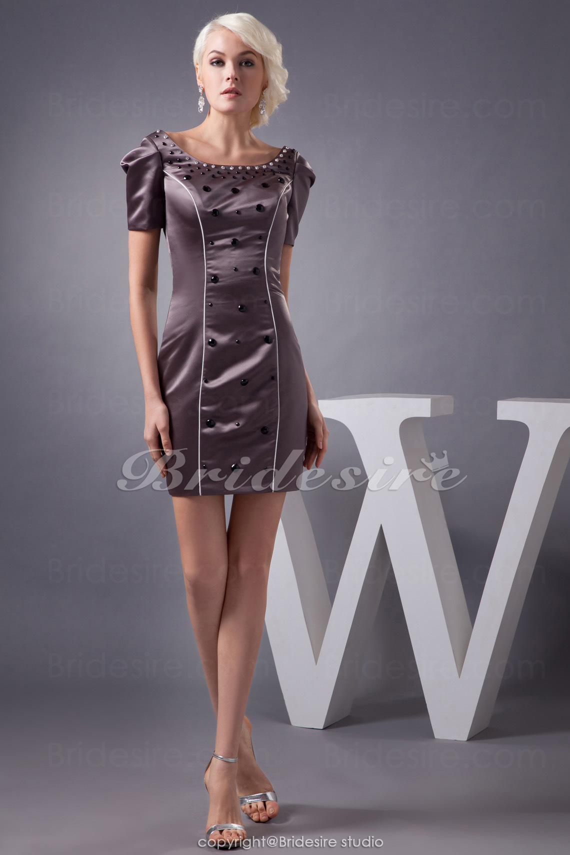 Sheath/Column Scoop Short/Mini Short Sleeve Satin Dress