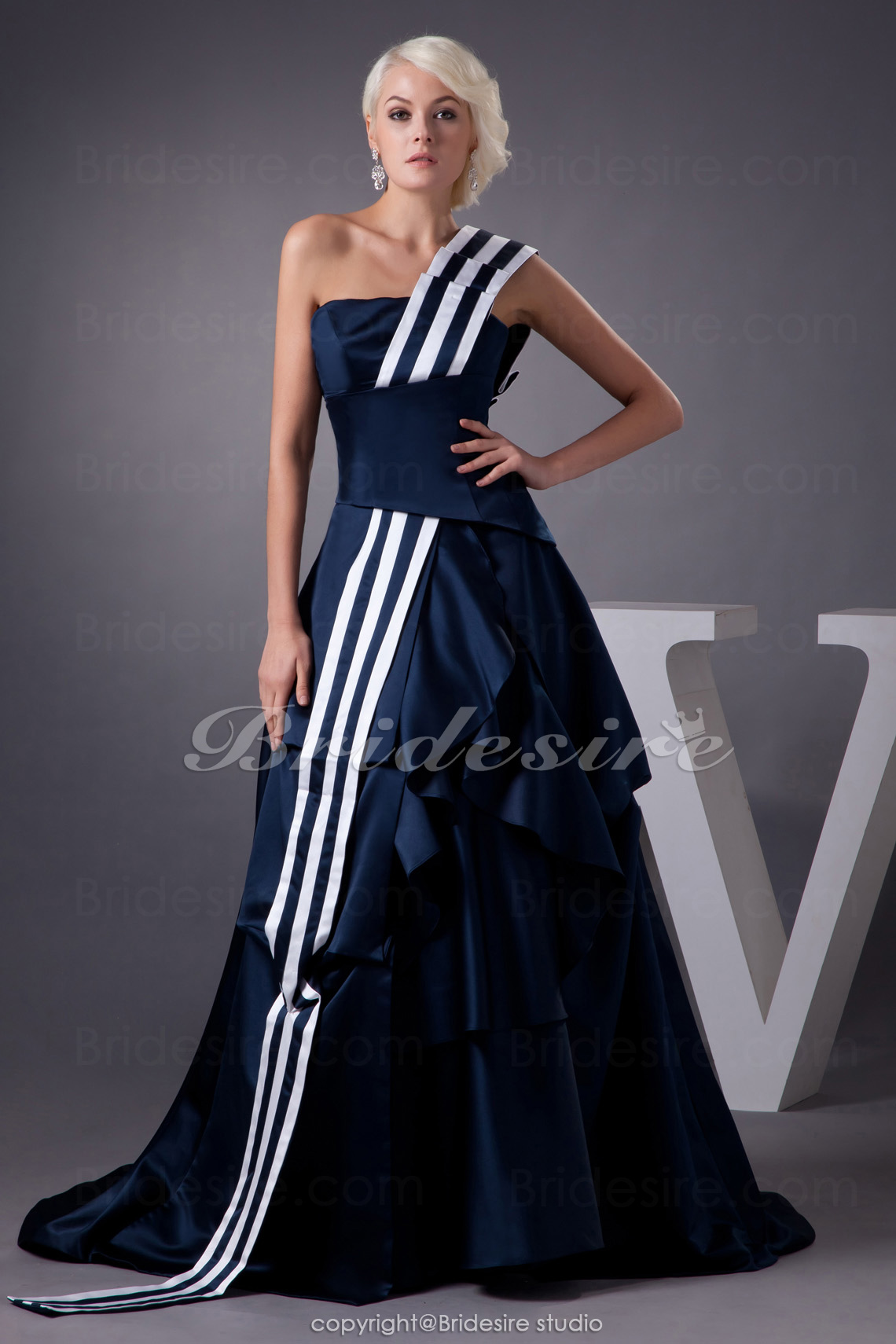 A-line One Shoulder Sweep Train Sleeveless Satin Dress