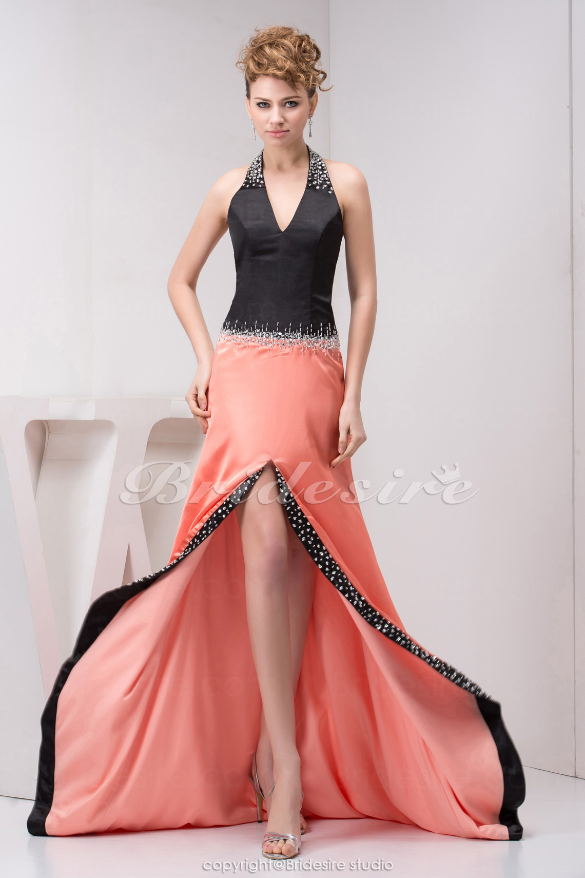 A-line Halter Sweep Train Sleeveless Elastic Silk-like Satin Dress