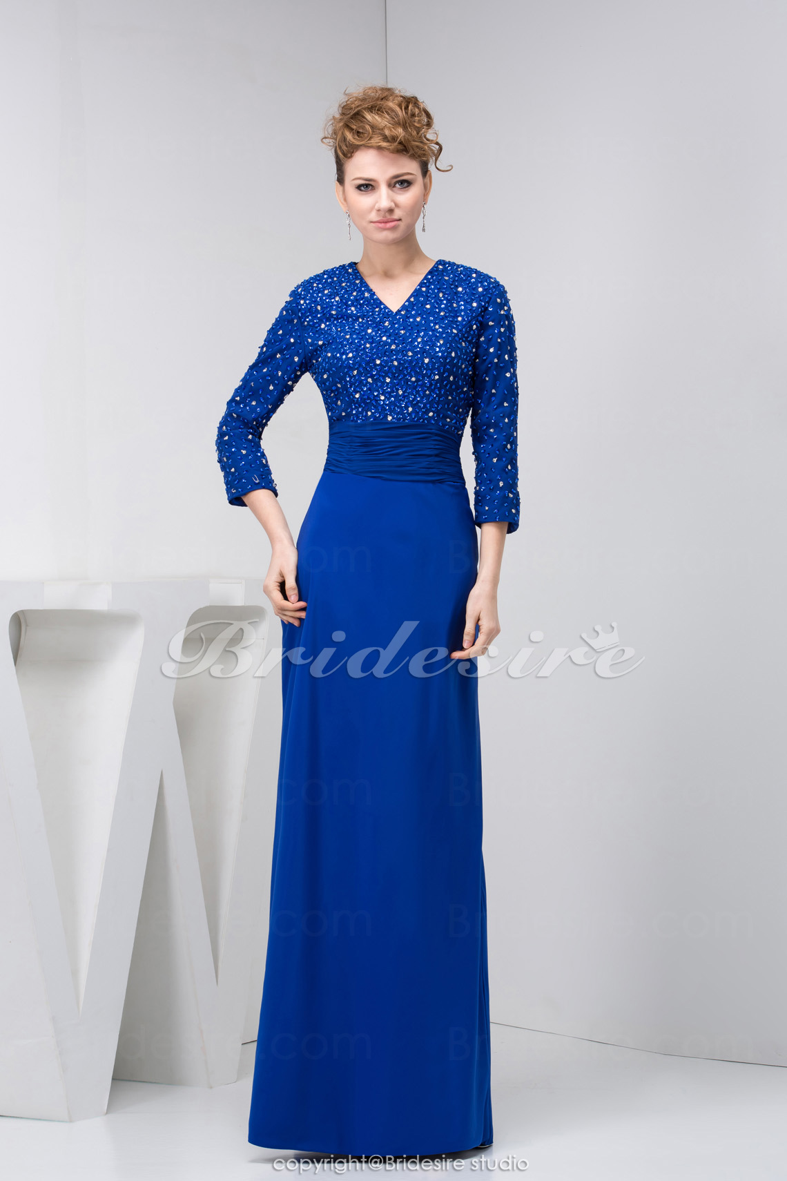Sheath/Column V-neck Floor-length 3/4 Length Sleeve Stretch Satin Mother of the Bride Dress