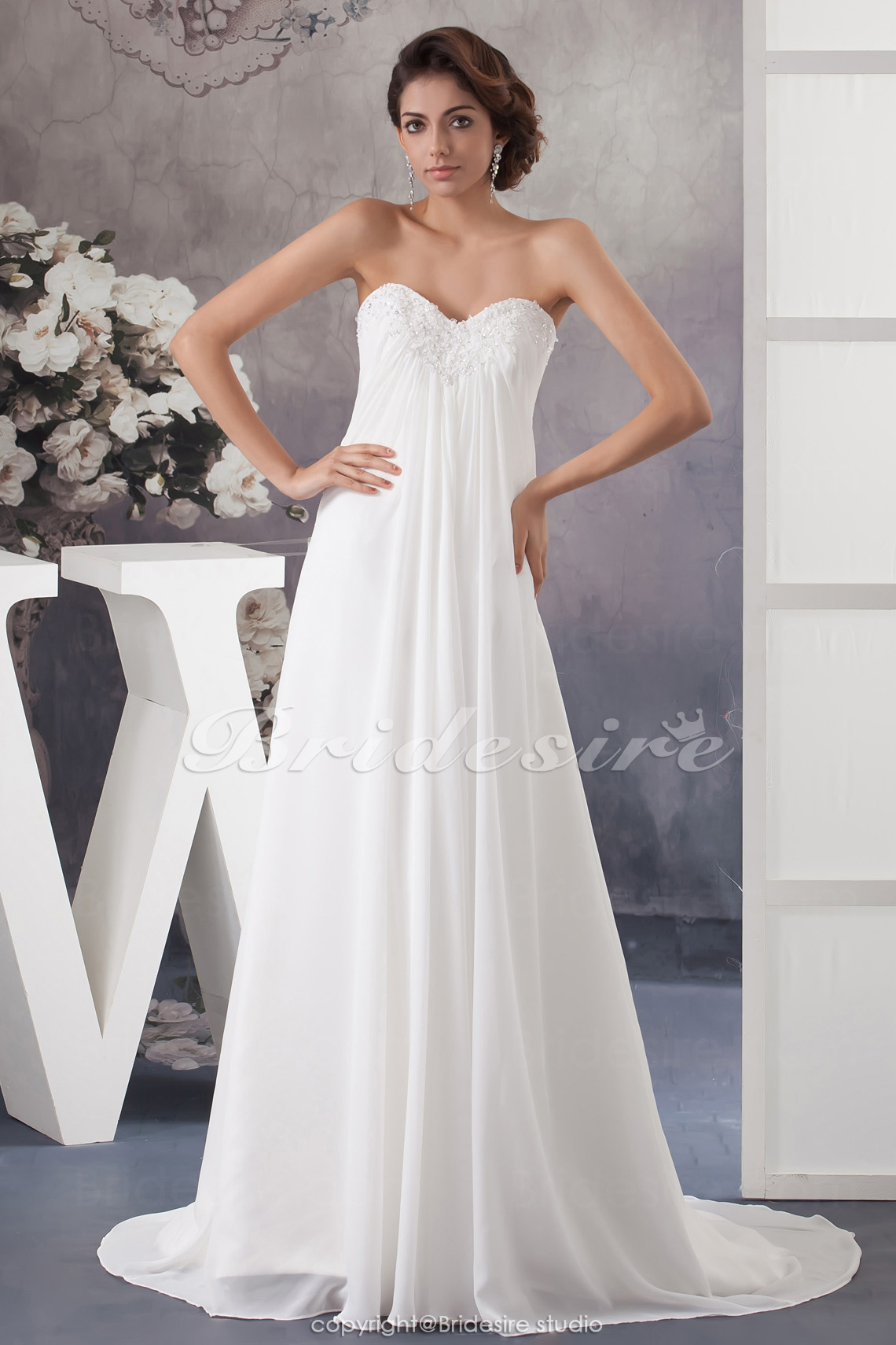 A-line Sweetheart Sweep Train Sleeveless Chiffon Wedding Dress