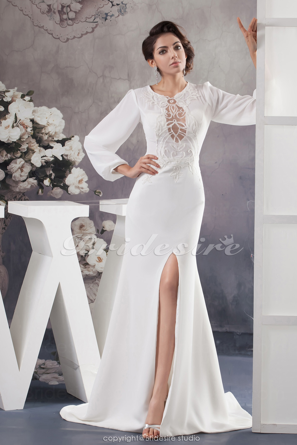 A-line Scoop Sweep Train Long Sleeve Chiffon Wedding Dress