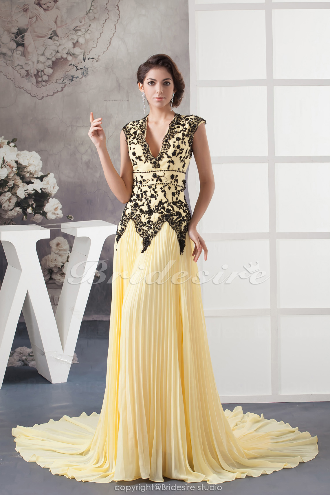 A-line V-neck Court Train Sleeveless Chiffon Dress