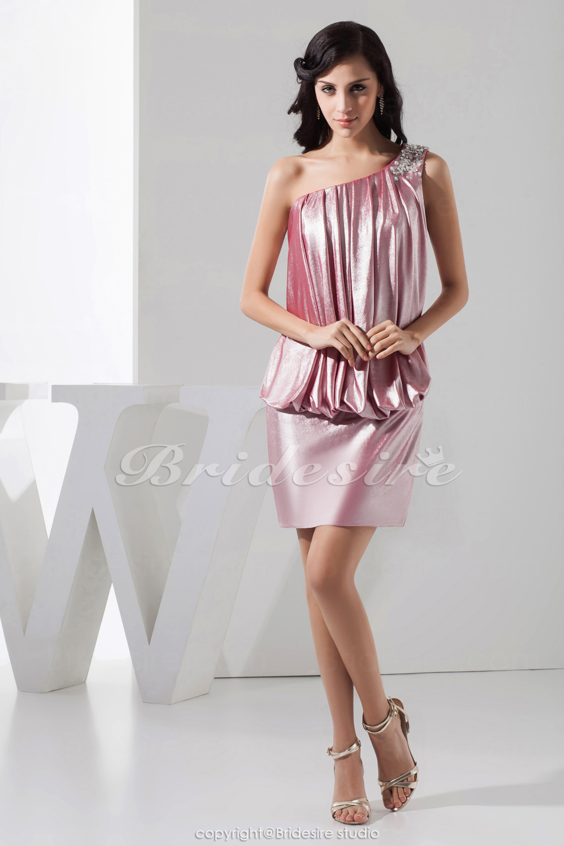 Sheath/Column One Shoulder Short/Mini Sleeveless Taffeta Dress