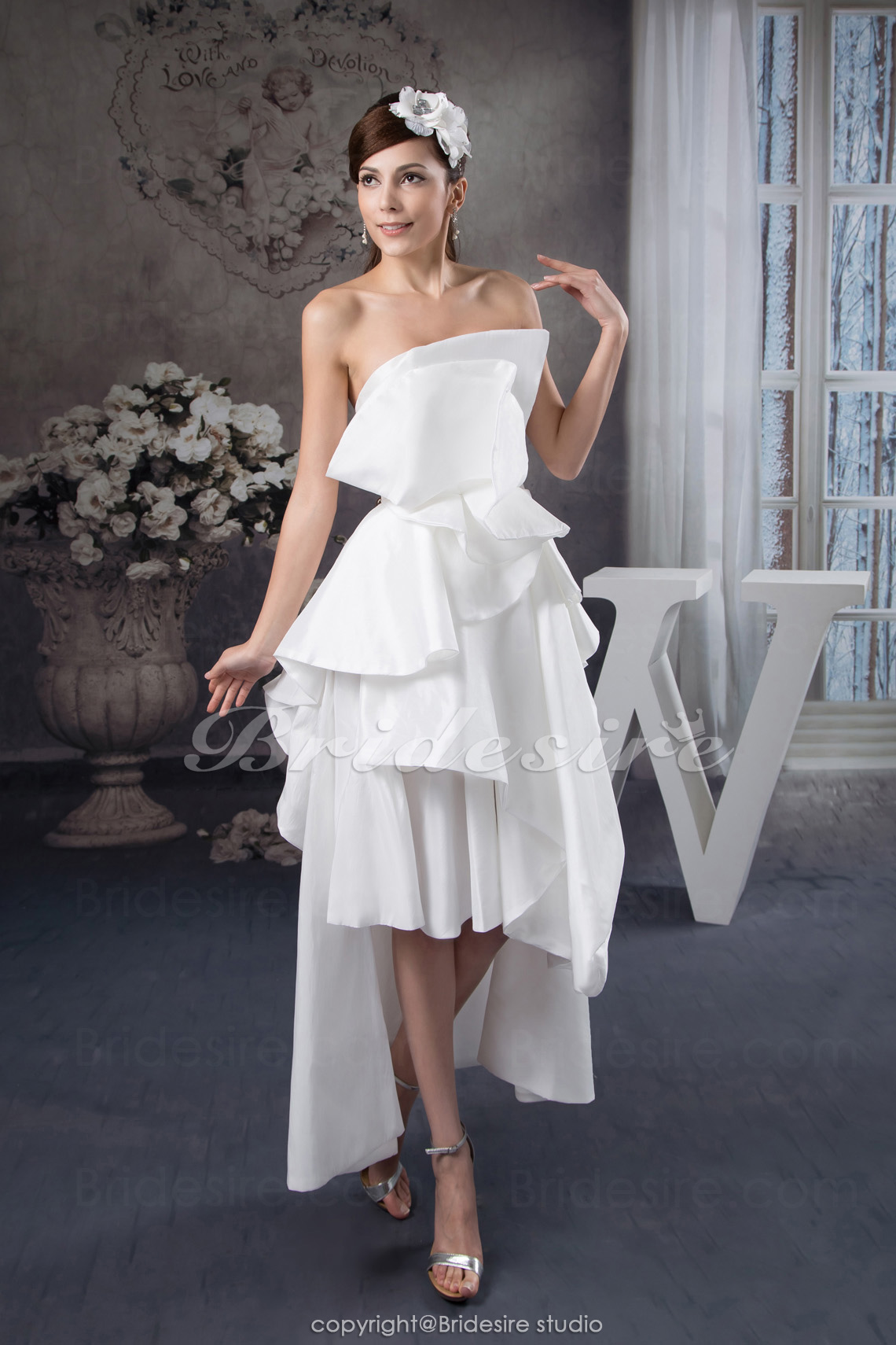 A-line Strapless Asymmetrical Sleeveless Satin Dress