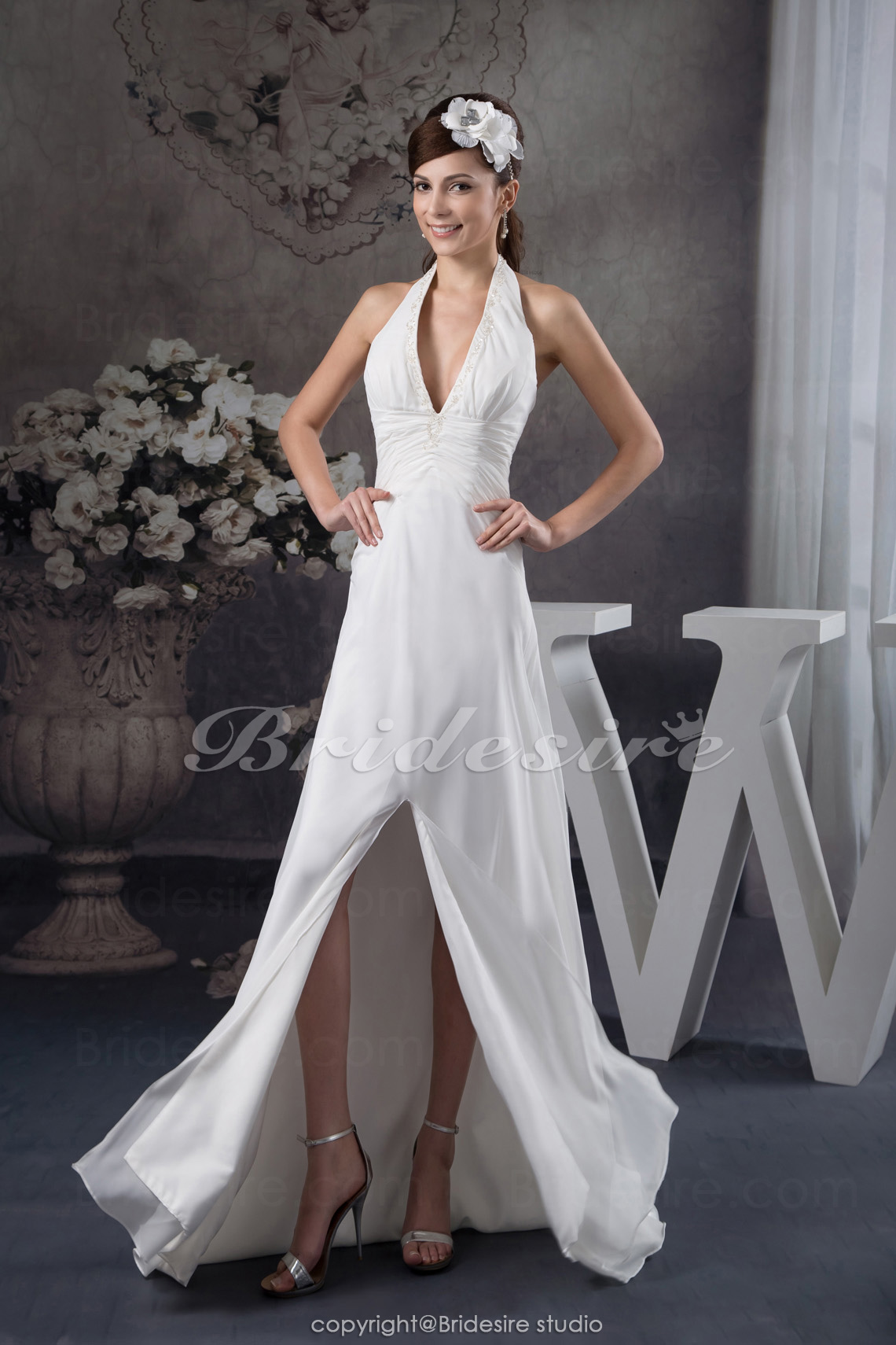A-line Halter Sweep Train Sleeveless Chiffon Dress