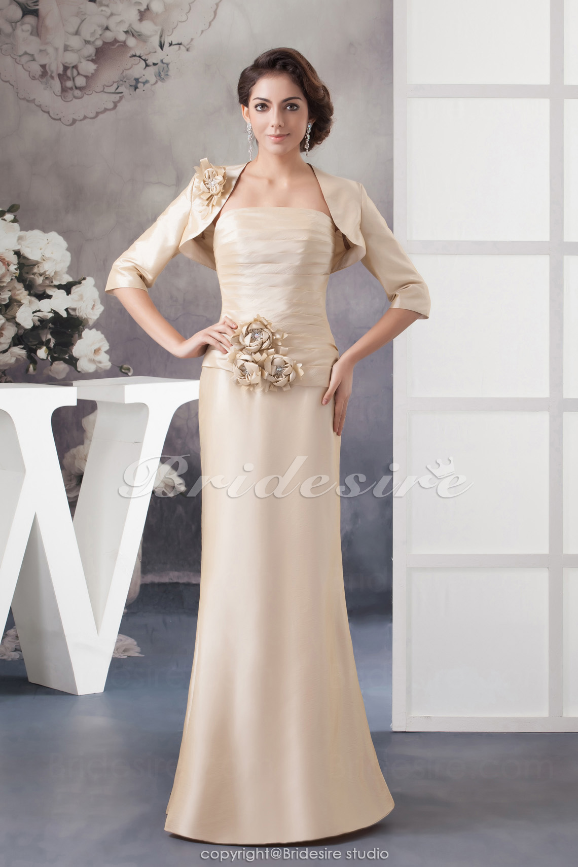 A-line Strapless Floor-length Sleeveless Taffeta Mother of the Bride Dress
