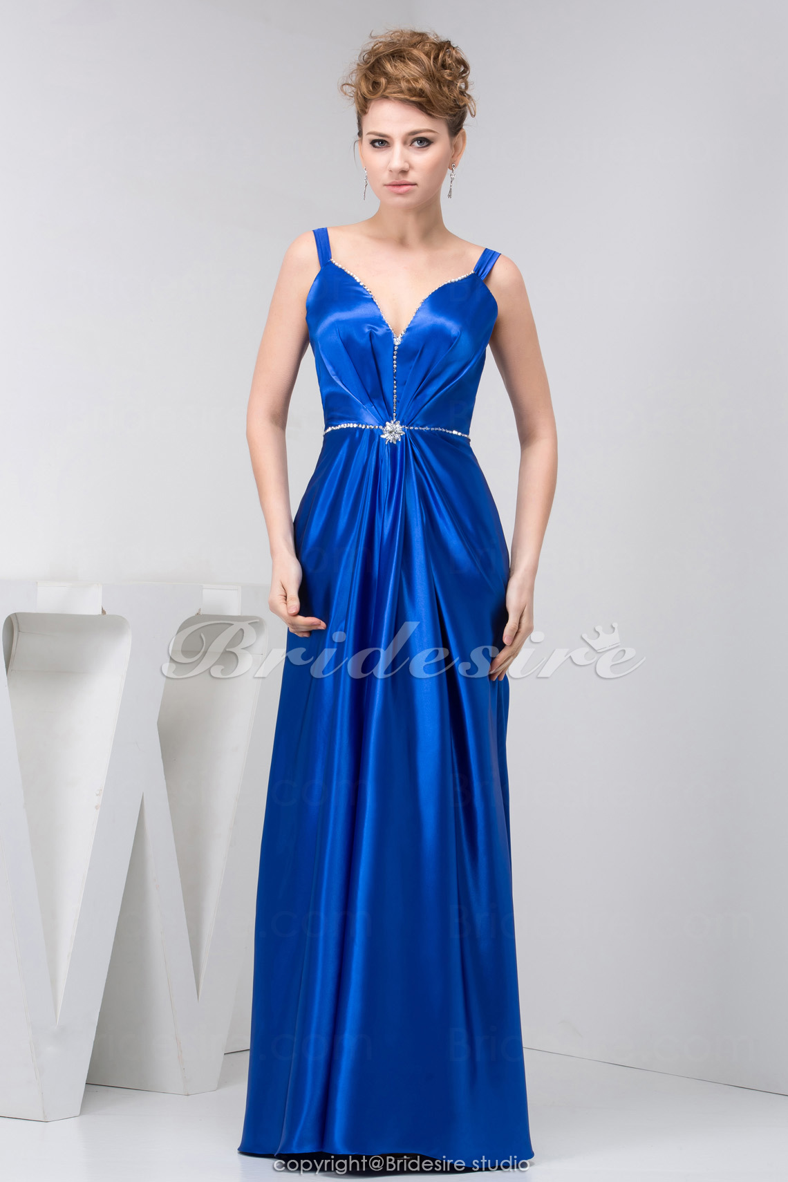 A-line Straps Floor-length Sleeveless Stretch Satin Mother of the Bride Dress
