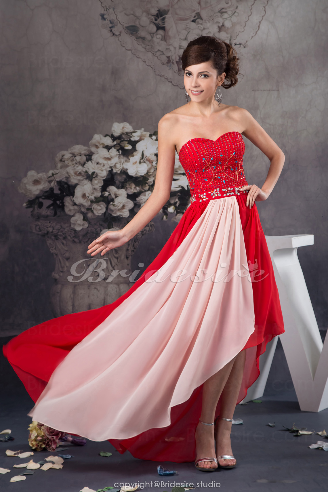 A-line Sweetheart Floor-length Sleeveless Chiffon Dress