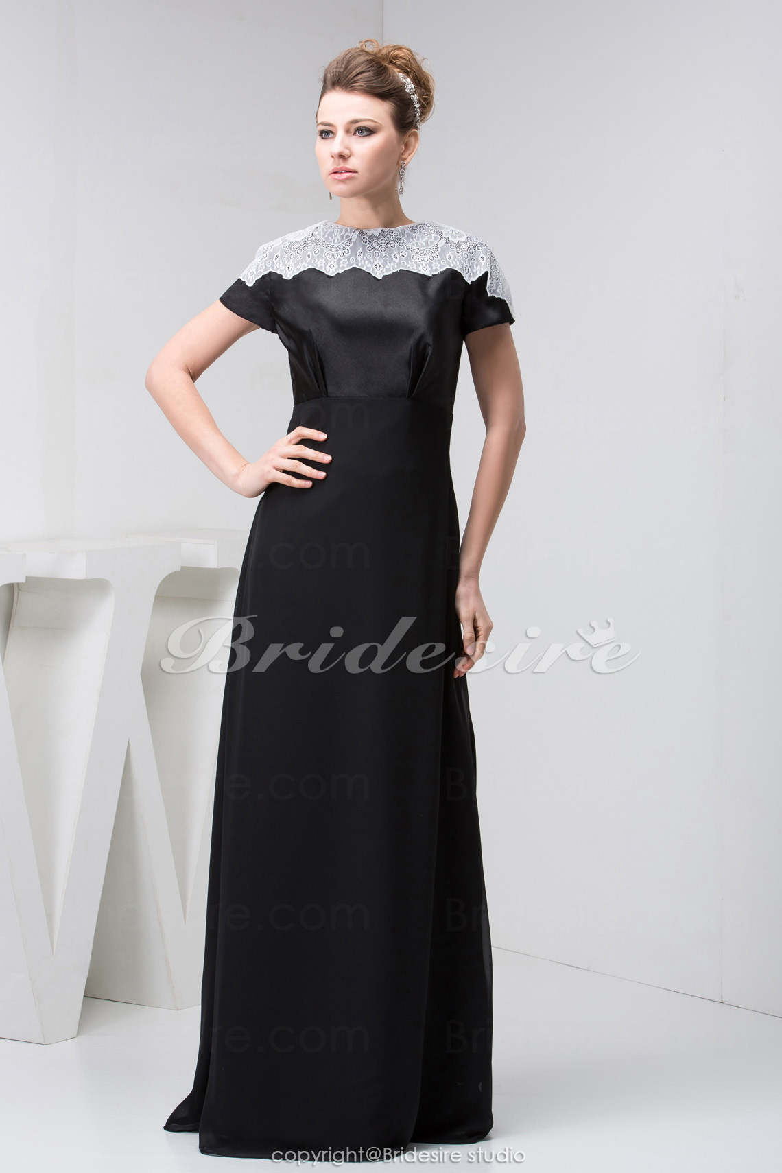 A-line Scoop Floor-length Short Sleeve Satin Organza Dress